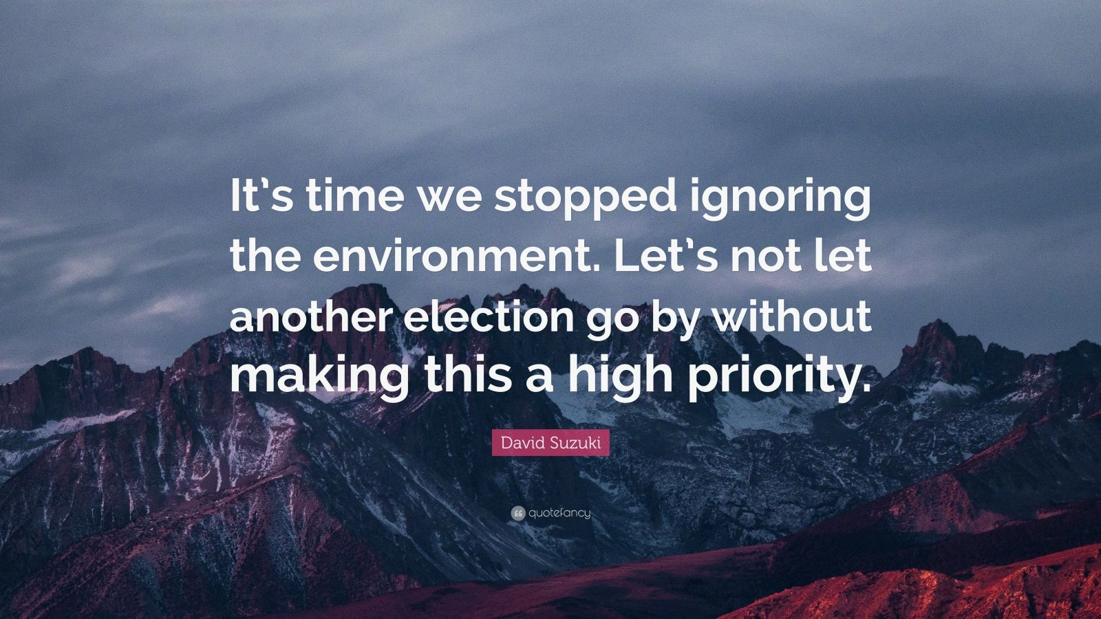"""David Suzuki Quote: """"It's time we stopped ignoring the environment. Let's not let another election go by without making this a high priority."""""""