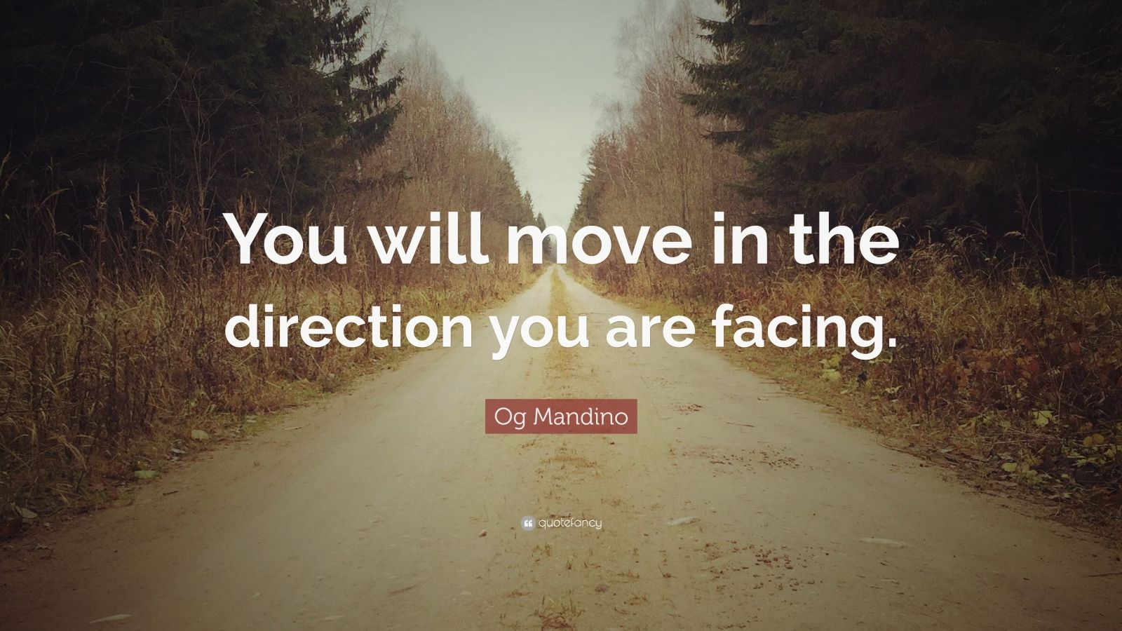 "Og Mandino Quote: ""You will move in the direction you are facing."""