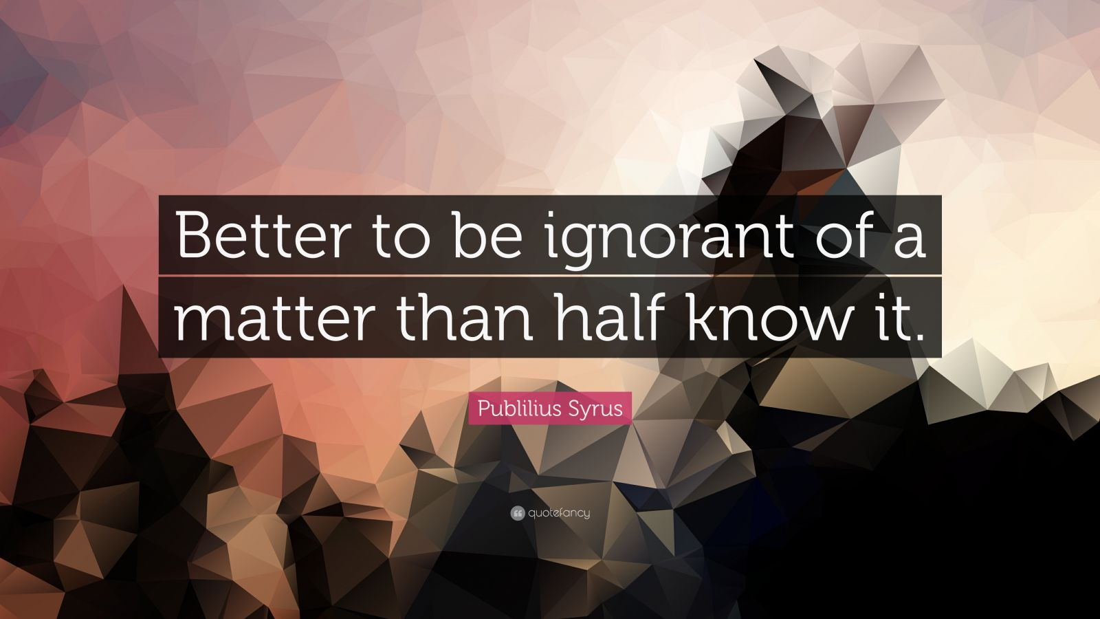 "Publilius Syrus Quote: ""Better to be ignorant of a matter than half know it."""