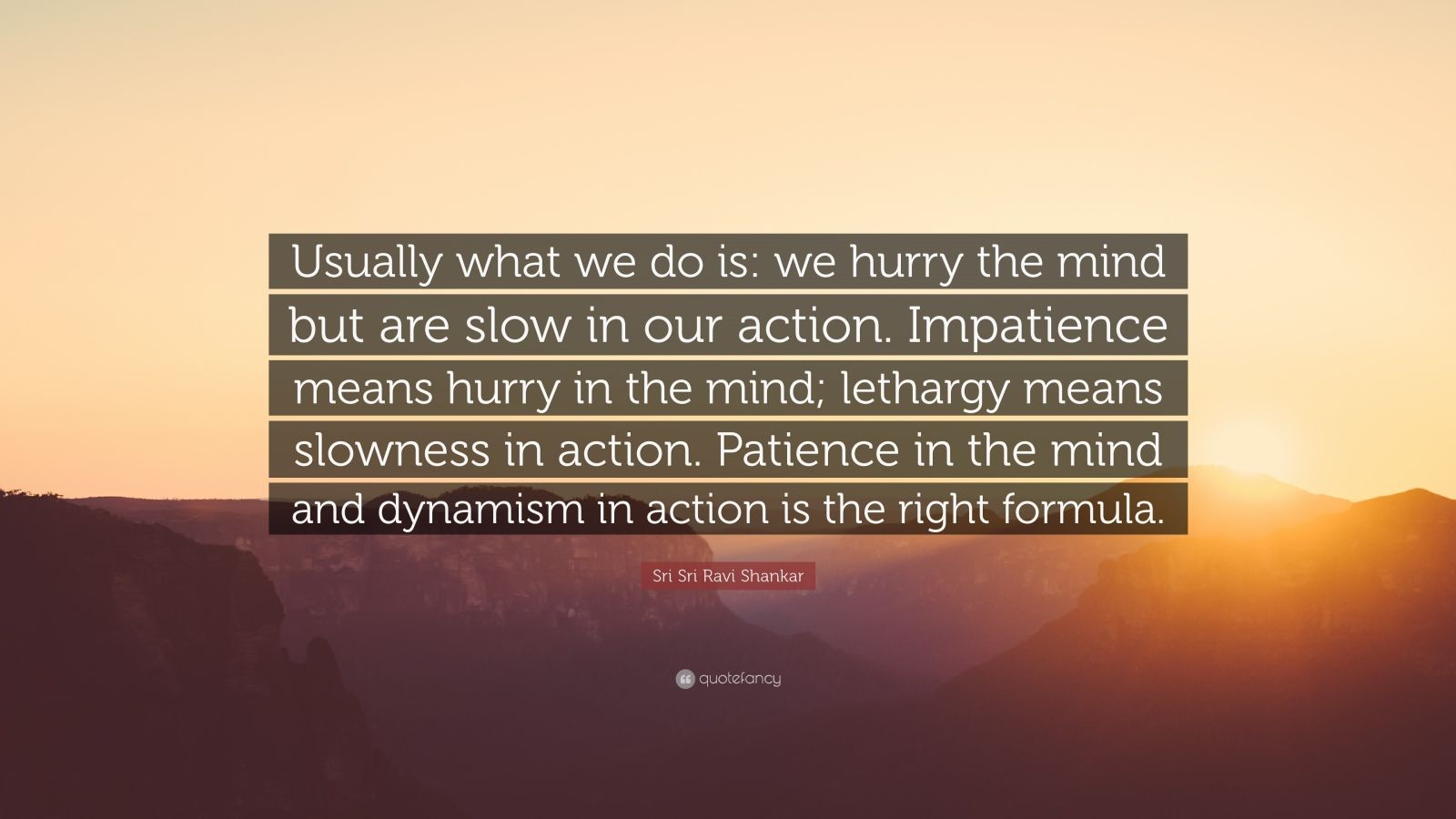 """Sri Sri Ravi Shankar Quote: """"Usually what we do is: we hurry the mind but are slow in our action. Impatience means hurry in the mind; lethargy means slowness in action. Patience in the mind and dynamism in action is the right formula."""""""