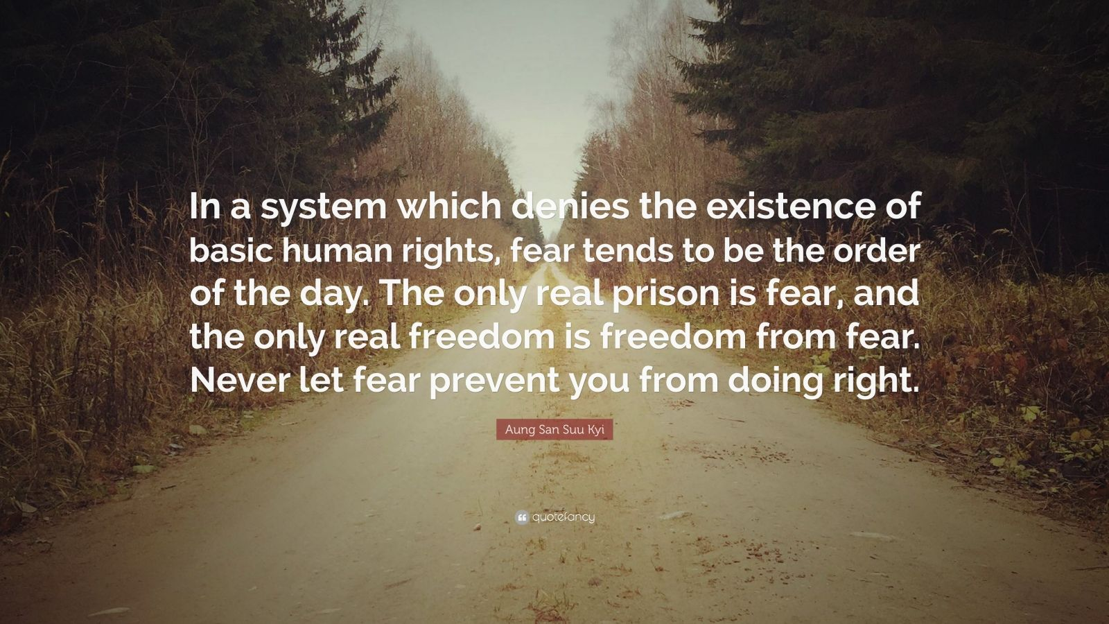 "Aung San Suu Kyi Quote: ""In a system which denies the existence of basic human rights, fear tends to be the order of the day. The only real prison is fear, and the only real freedom is freedom from fear. Never let fear prevent you from doing right."""