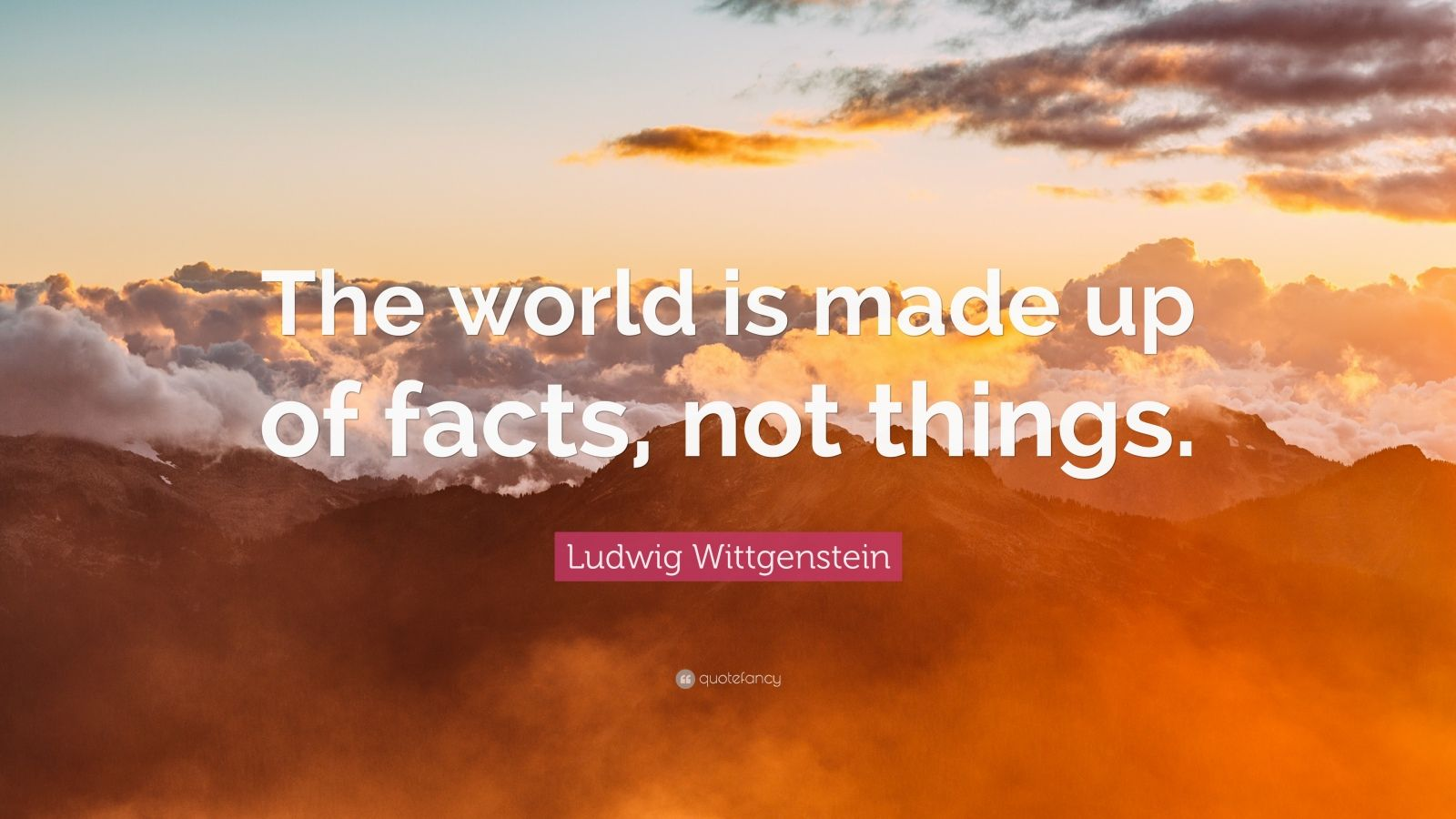 """Ludwig Wittgenstein Quote: """"The world is made up of facts, not things."""""""