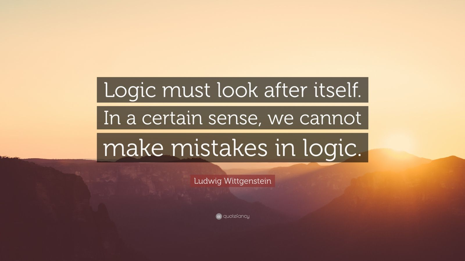 """Ludwig Wittgenstein Quote: """"Logic must look after itself. In a certain sense, we cannot make mistakes in logic."""""""
