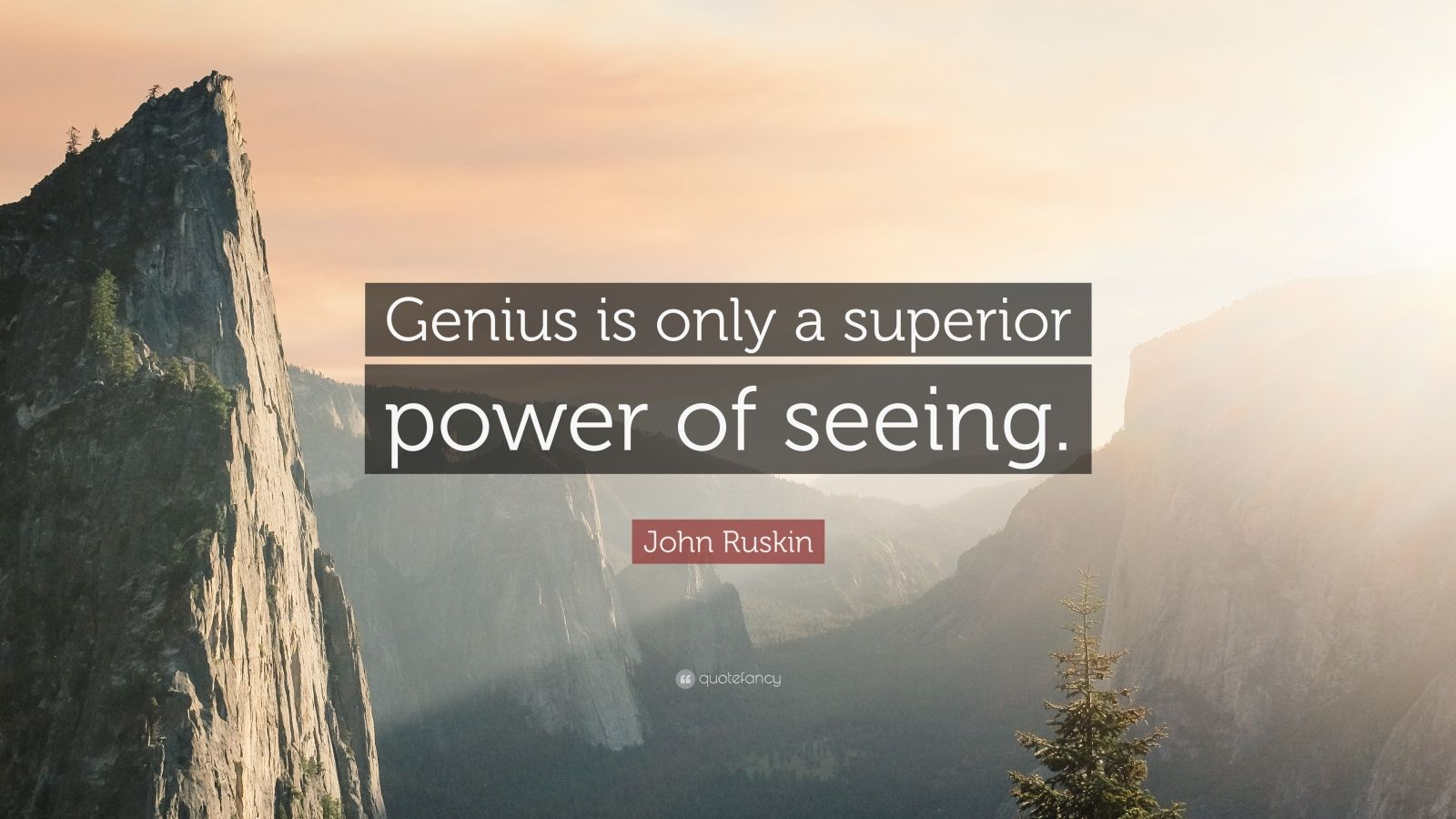 """John Ruskin Quote: """"Genius is only a superior power of seeing."""""""