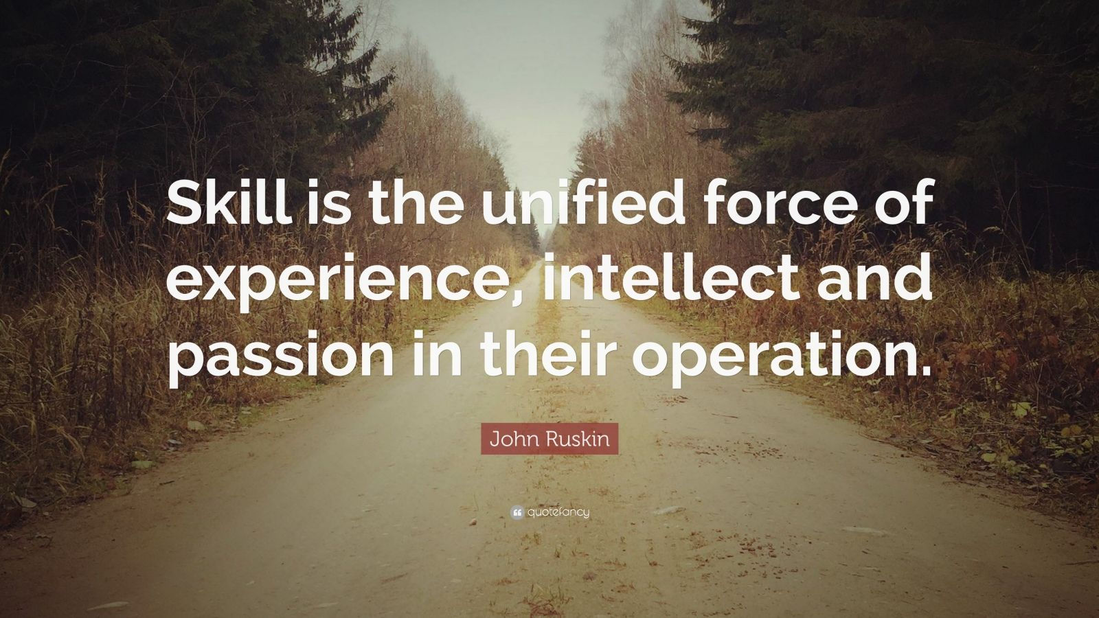 "John Ruskin Quote: ""Skill is the unified force of experience, intellect and passion in their operation."""