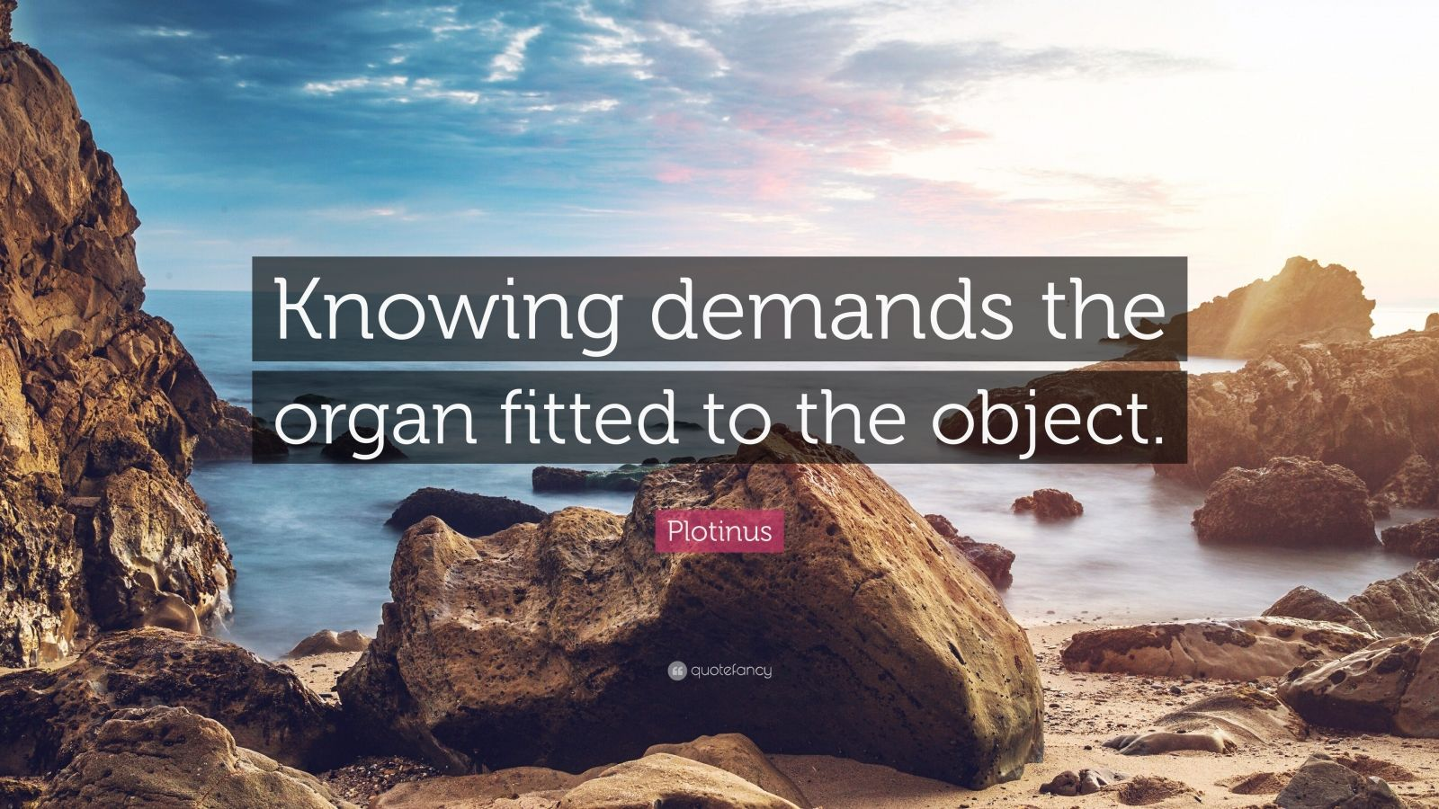 """Plotinus Quote: """"Knowing demands the organ fitted to the object."""""""