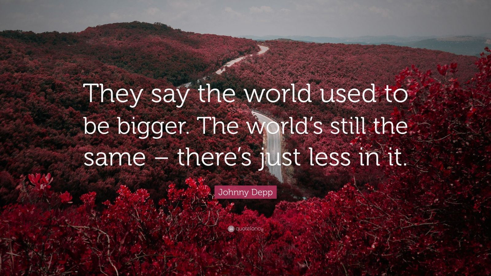 """Johnny Depp Quote: """"They say the world used to be bigger. The world's still the same – there's just less in it."""""""