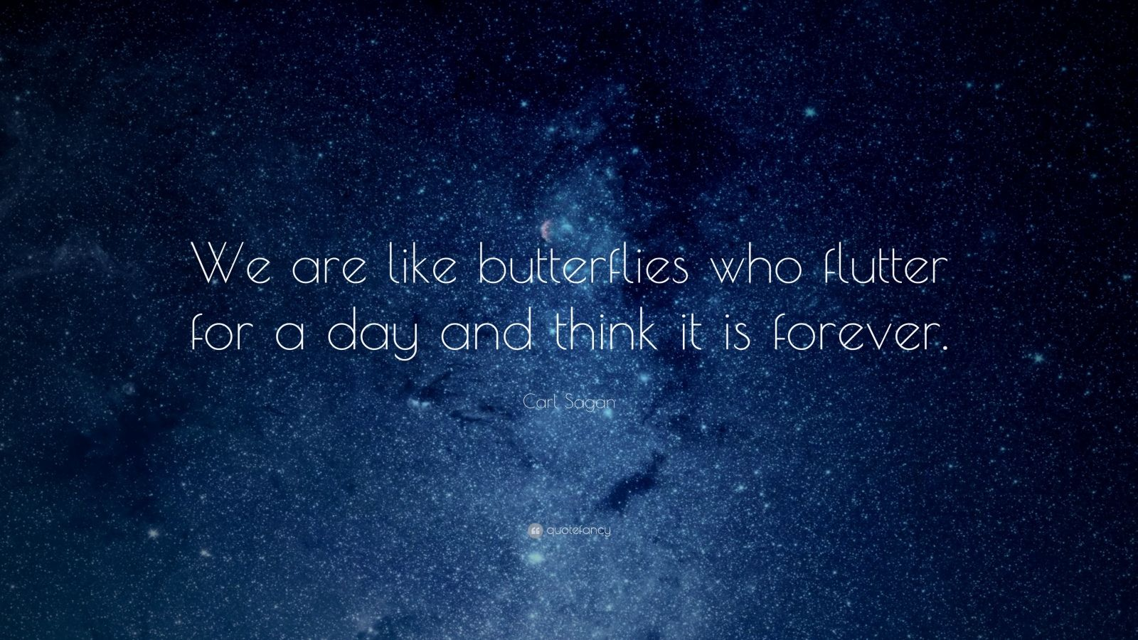 "Carl Sagan Quote: ""We are like butterflies who flutter for a day and think it is forever."""