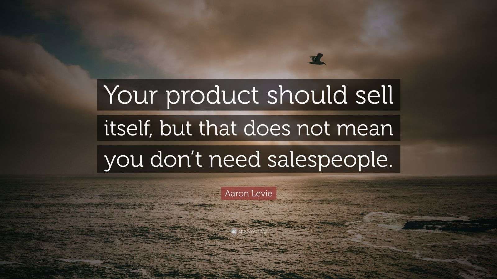 "Aaron Levie Quote: ""Your product should sell itself, but that does not mean you don't need salespeople."""