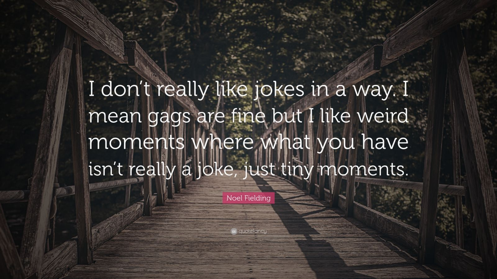 """Noel Fielding Quote: """"I don't really like jokes in a way. I mean gags are fine but I like weird moments where what you have isn't really a joke, just tiny moments."""""""
