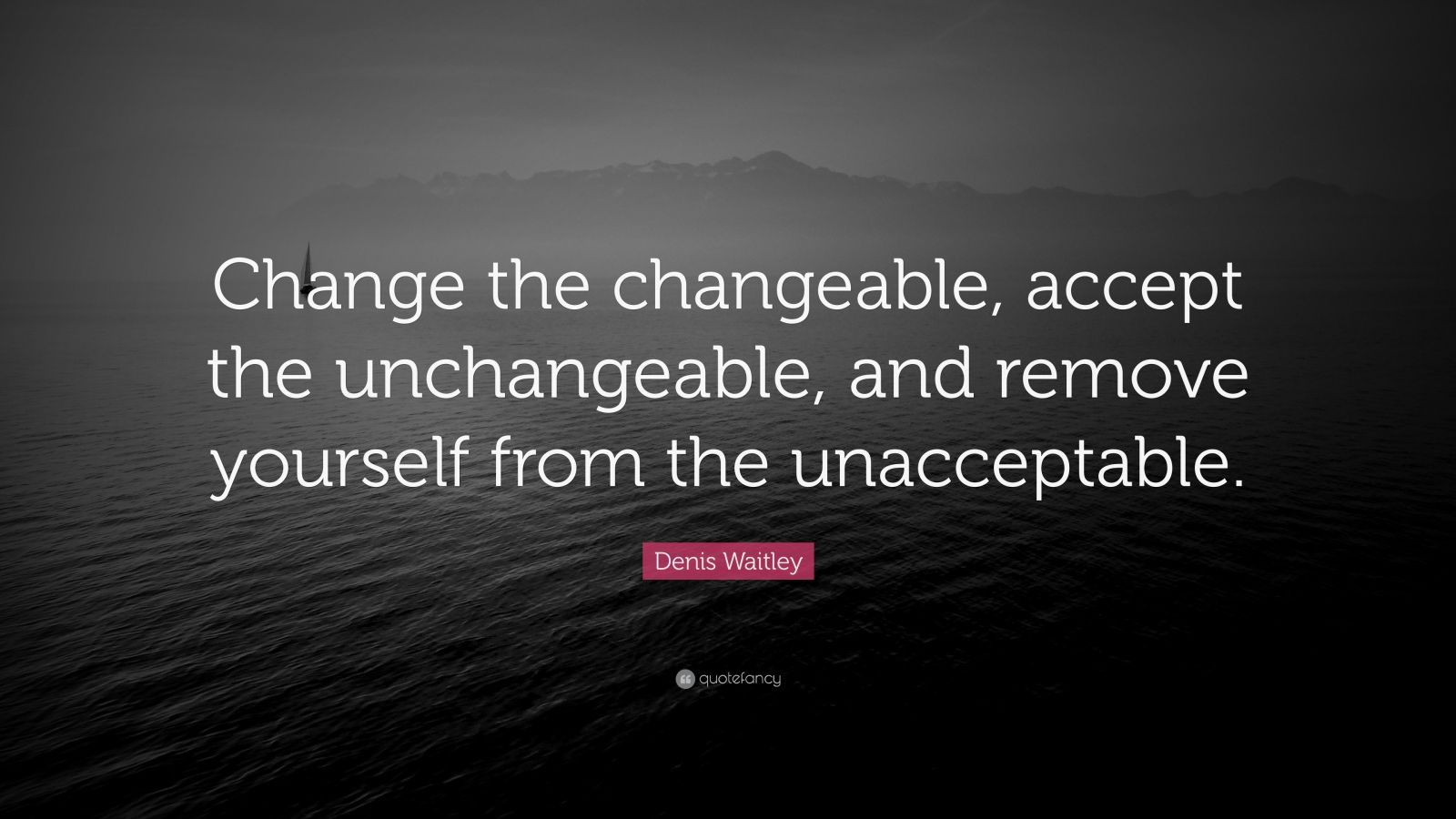 "Denis Waitley Quote: ""Change the changeable, accept the unchangeable, and remove yourself from the unacceptable."""
