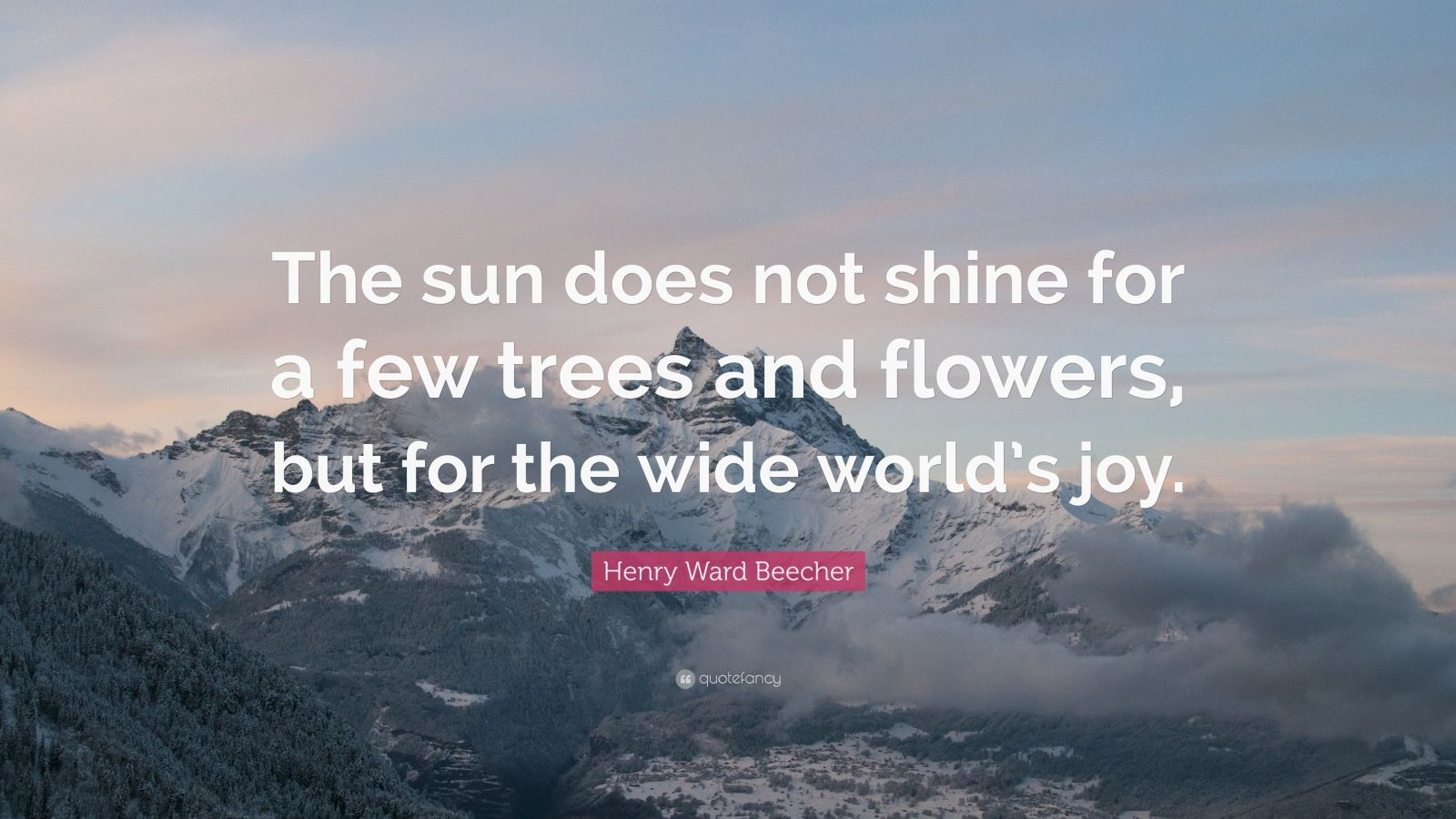 """Henry Ward Beecher Quote: """"The sun does not shine for a few trees and flowers, but for the wide world's joy."""""""