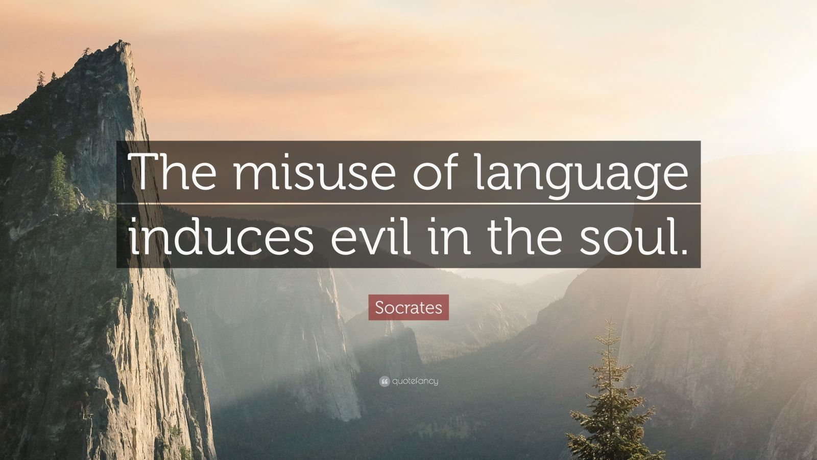 "Socrates Quote: ""The misuse of language induces evil in the soul."""