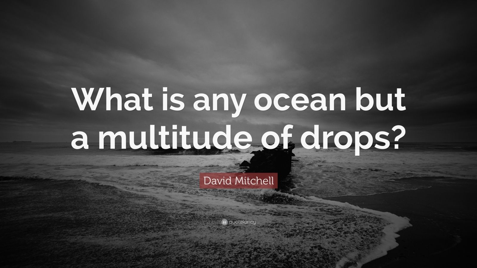 """David Mitchell Quote: """"What is any ocean but a multitude of drops?"""""""