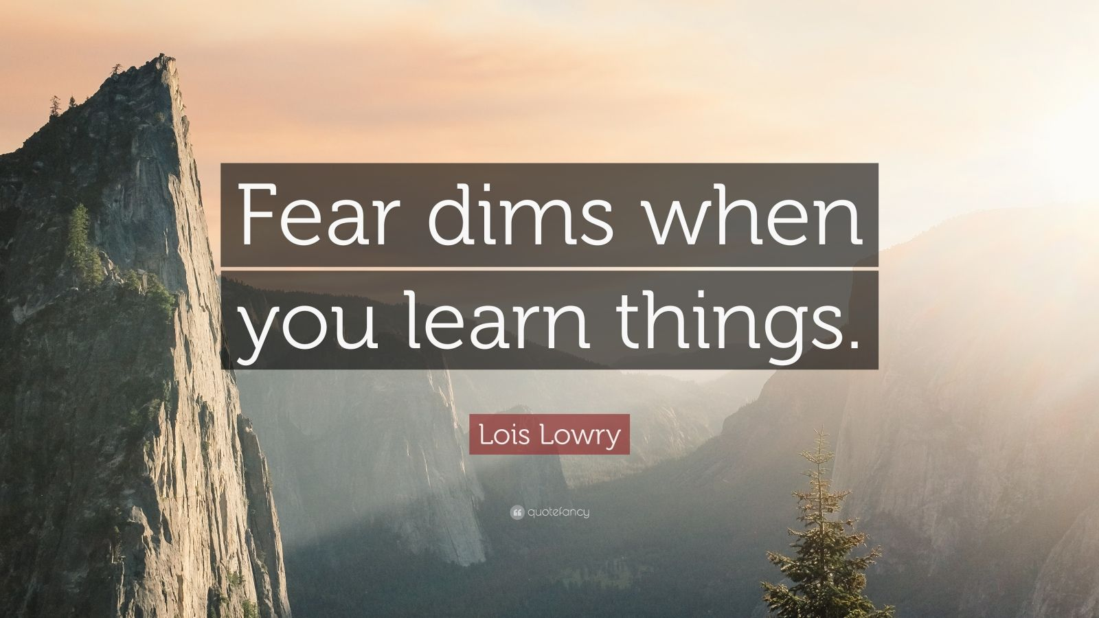 "Lois Lowry Quote: ""Fear dims when you learn things."""
