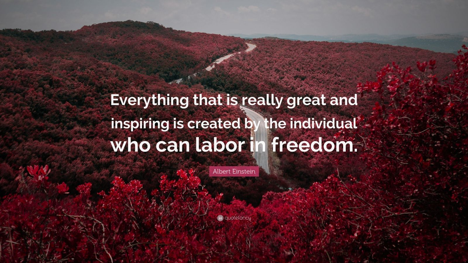 "Albert Einstein Quote: ""Everything that is really great and inspiring is created by the individual who can labor in freedom."""
