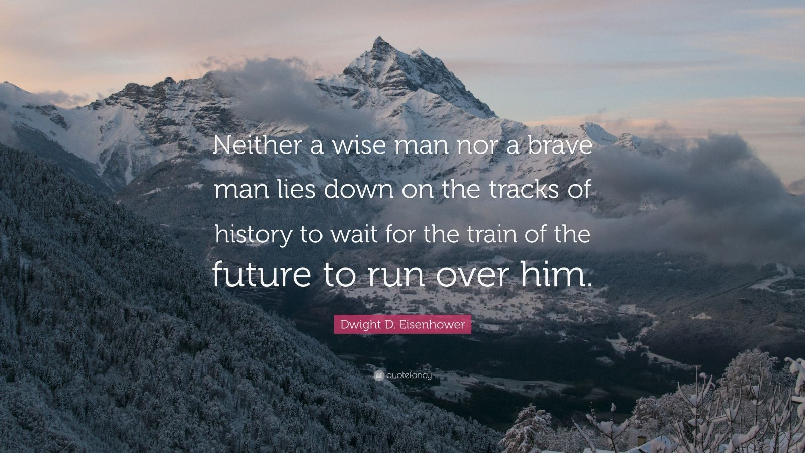 "Dwight D. Eisenhower Quote: ""Neither a wise man nor a brave man lies down on the tracks of history to wait for the train of the future to run over him."""