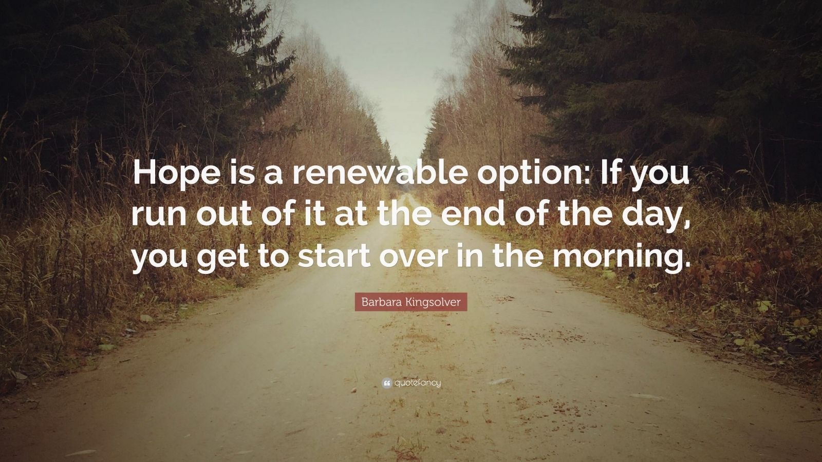 """Barbara Kingsolver Quote: """"Hope is a renewable option: If you run out of it at the end of the day, you get to start over in the morning."""""""