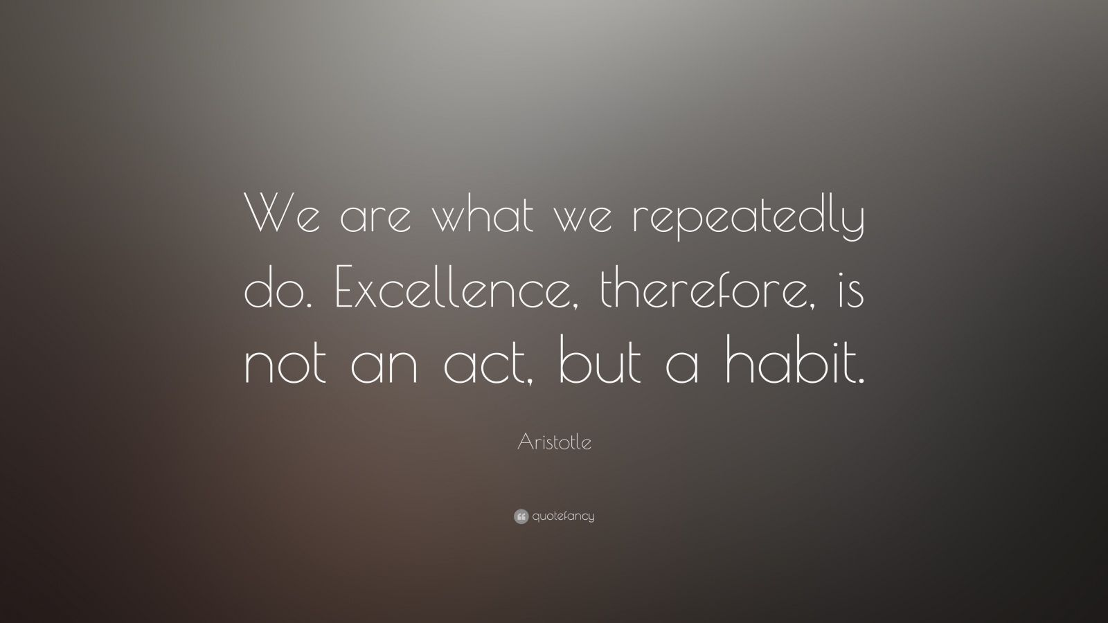 "Persistence Quotes: ""We are what we repeatedly do. Excellence, therefore, is not an act, but a habit."" — Aristotle"