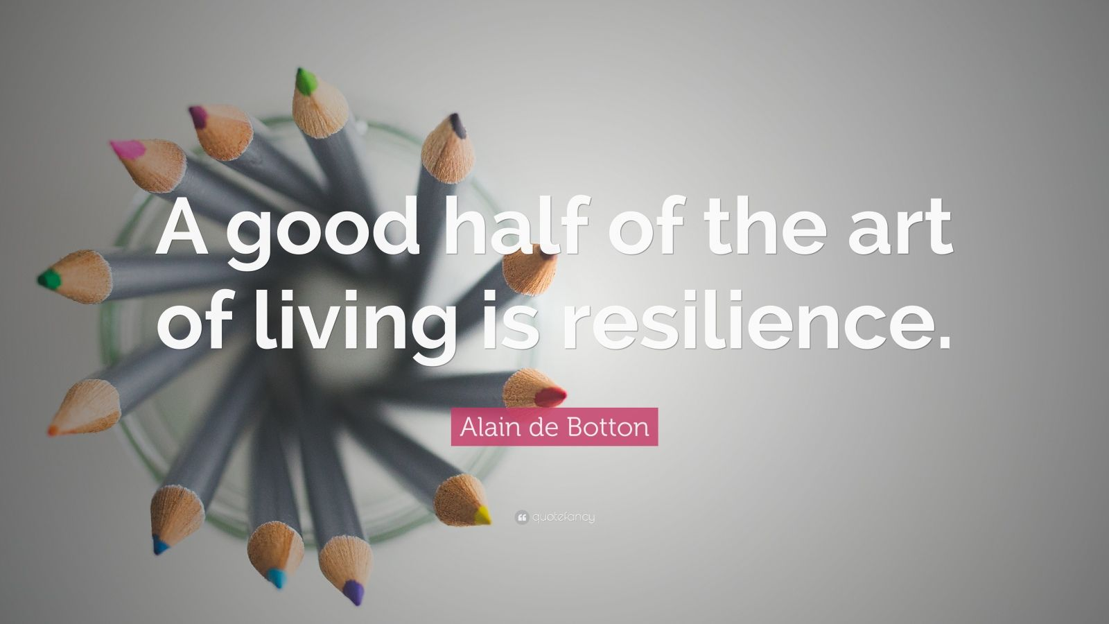 "Alain de Botton Quote: ""A good half of the art of living is resilience."""