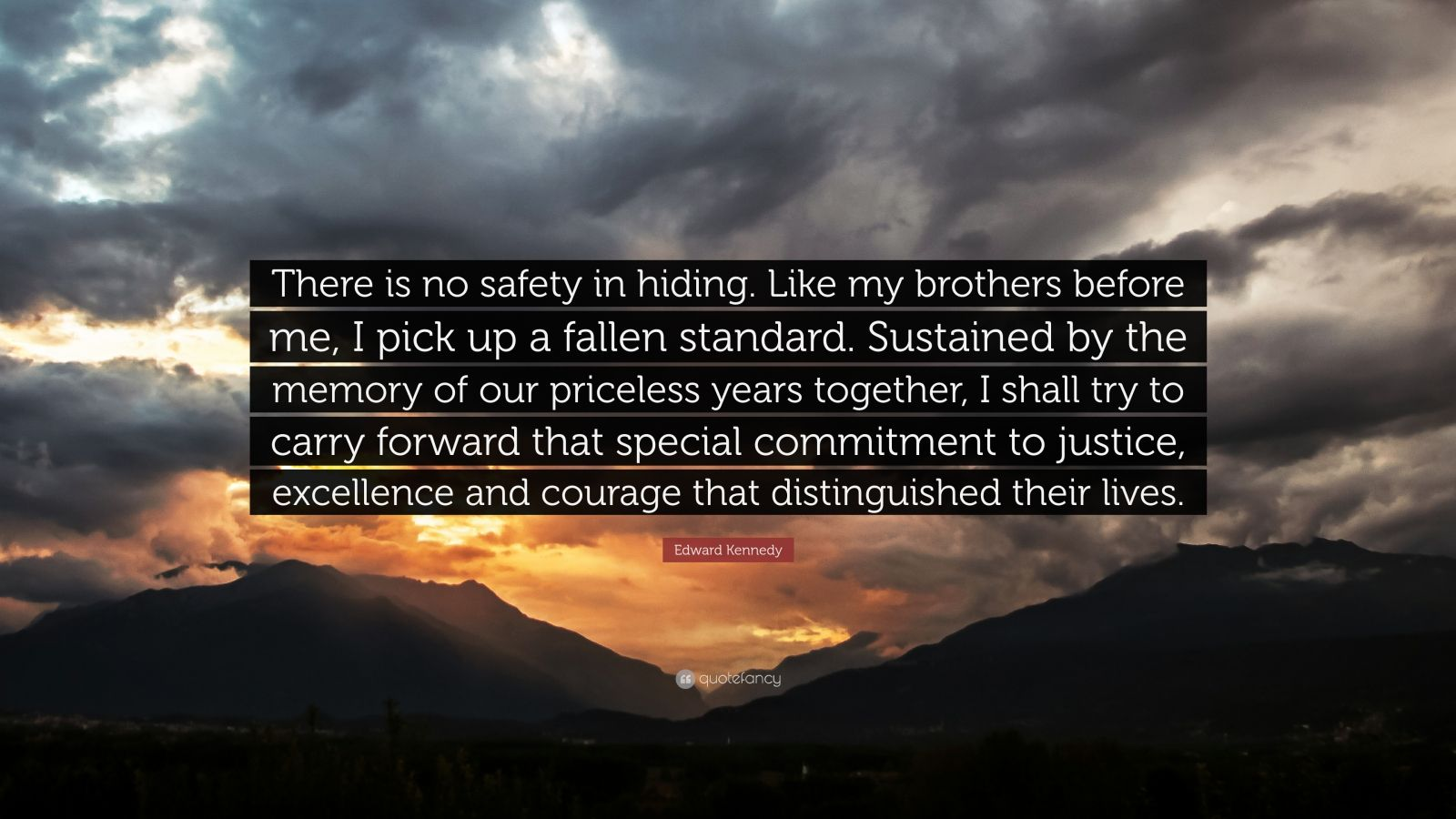 "Edward Kennedy Quote: ""There is no safety in hiding. Like my brothers before me, I pick up a fallen standard. Sustained by the memory of our priceless years together, I shall try to carry forward that special commitment to justice, excellence and courage that distinguished their lives."""