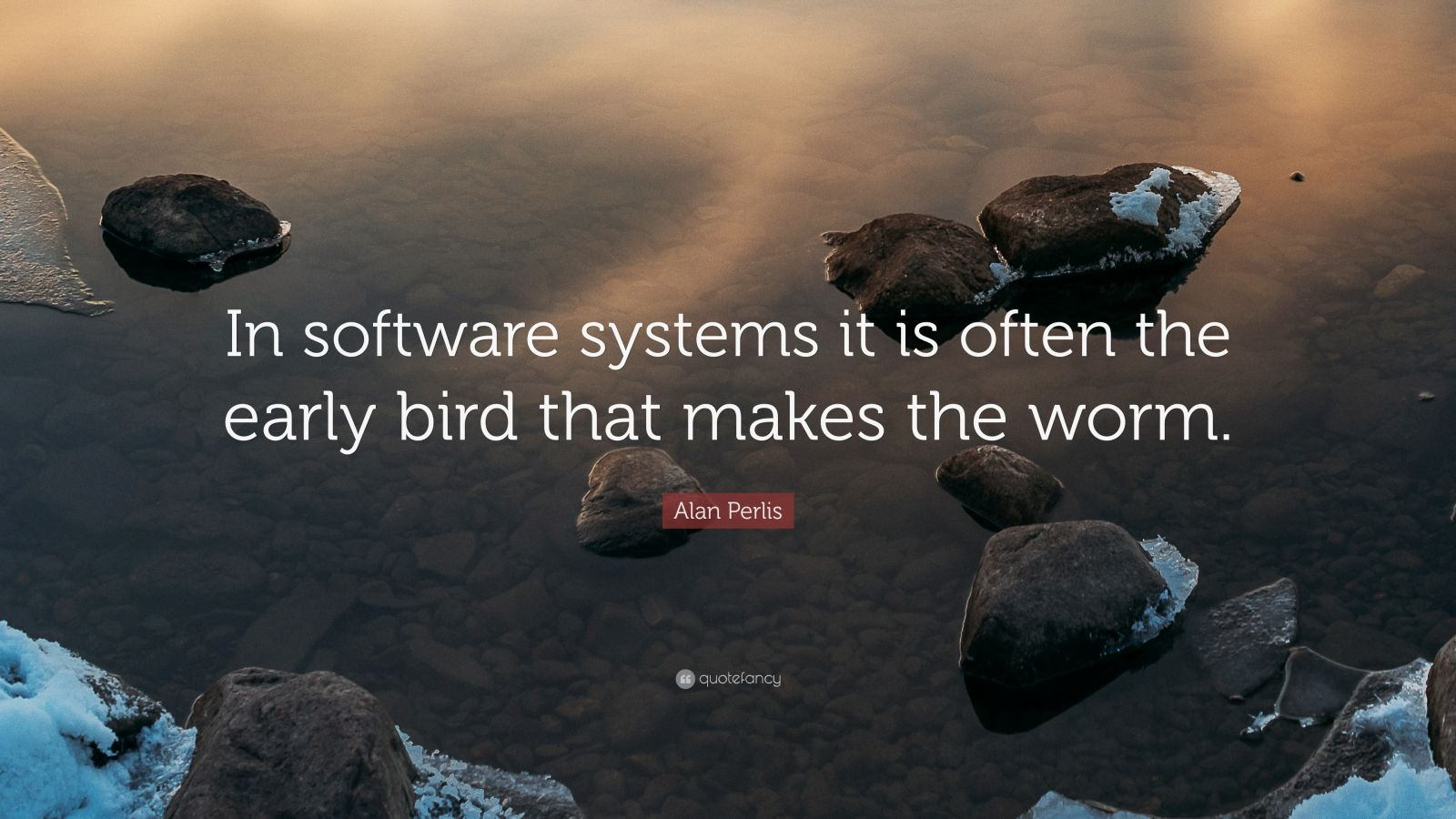 """Alan Perlis Quote: """"In software systems it is often the early bird that makes the worm."""""""