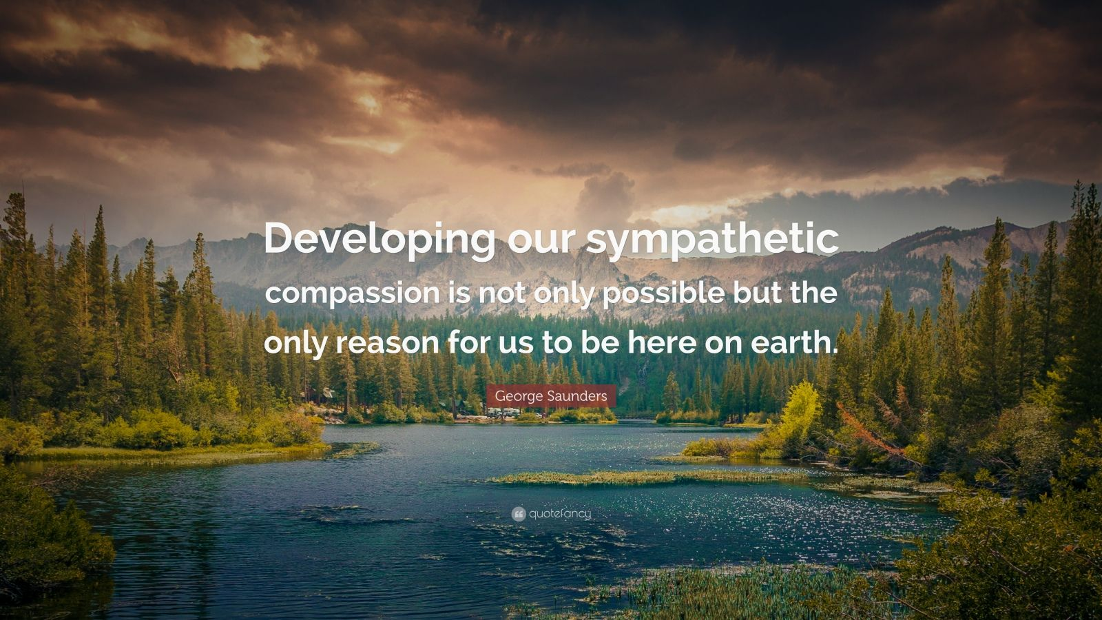 """George Saunders Quote: """"Developing our sympathetic compassion is not only possible but the only reason for us to be here on earth."""""""