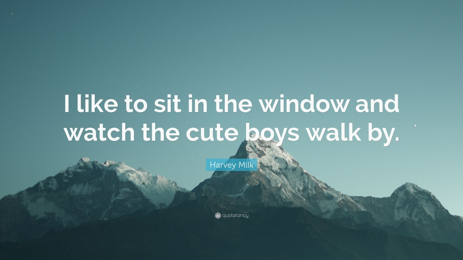 """Harvey Milk Quote: """"I like to sit in the window and watch the cute boys walk by."""""""