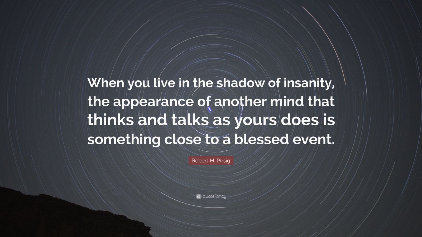 "Robert M. Pirsig Quote: ""When you live in the shadow of insanity, the appearance of another mind that thinks and talks as yours does is something close to a blessed event."""