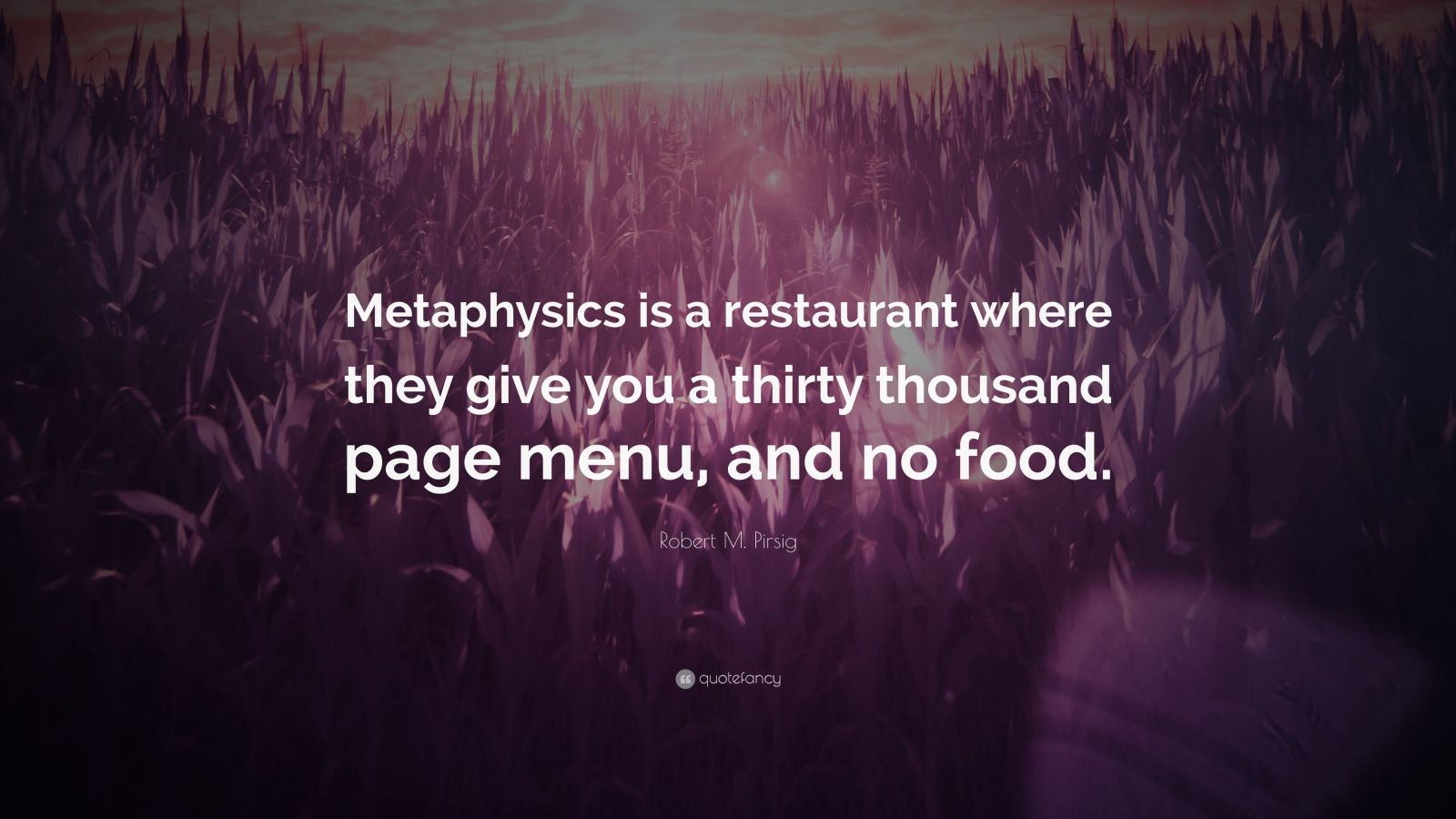 """Robert M. Pirsig Quote: """"Metaphysics is a restaurant where they give you a thirty thousand page menu, and no food."""""""