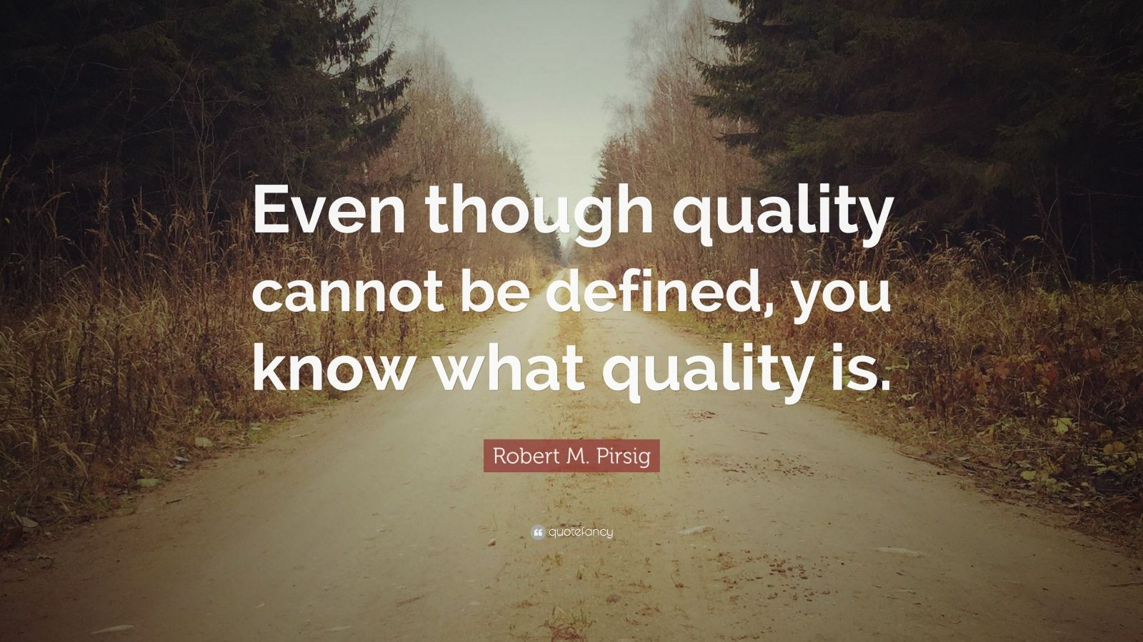 """Robert M. Pirsig Quote: """"Even though quality cannot be defined, you know what quality is."""""""