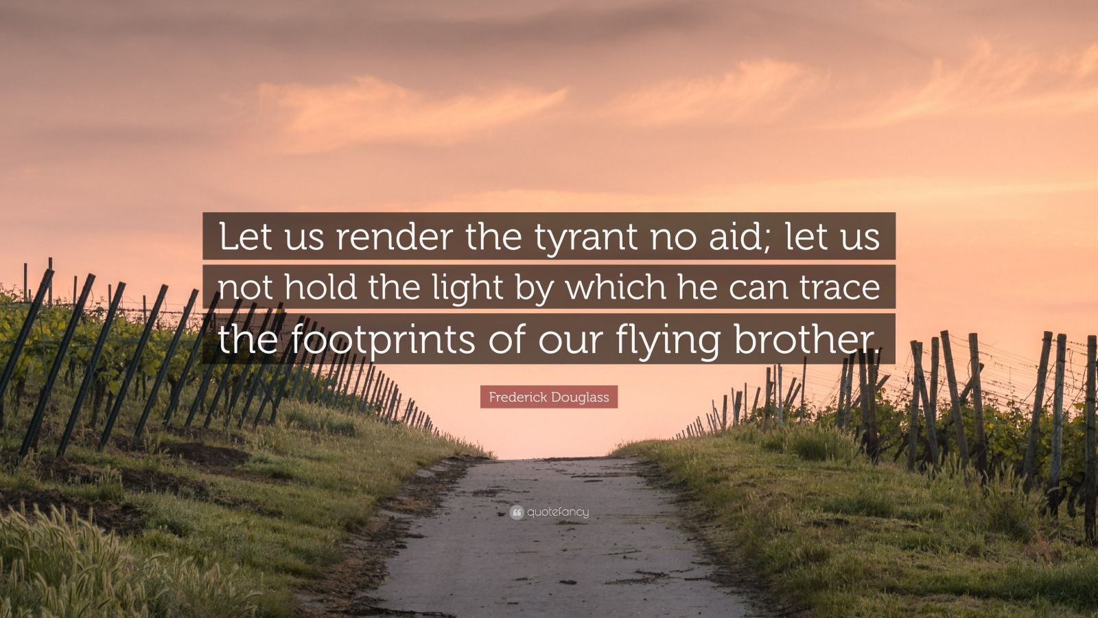 "Frederick Douglass Quote: ""Let us render the tyrant no aid; let us not hold the light by which he can trace the footprints of our flying brother."""