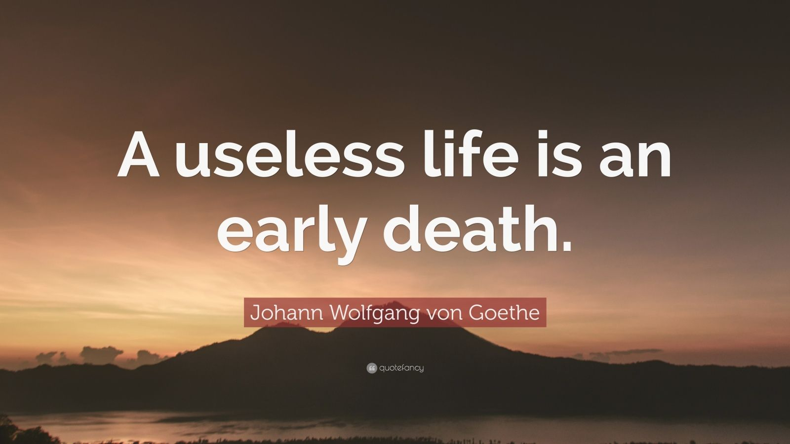 """Johann Wolfgang von Goethe Quote: """"A useless life is an ..."""