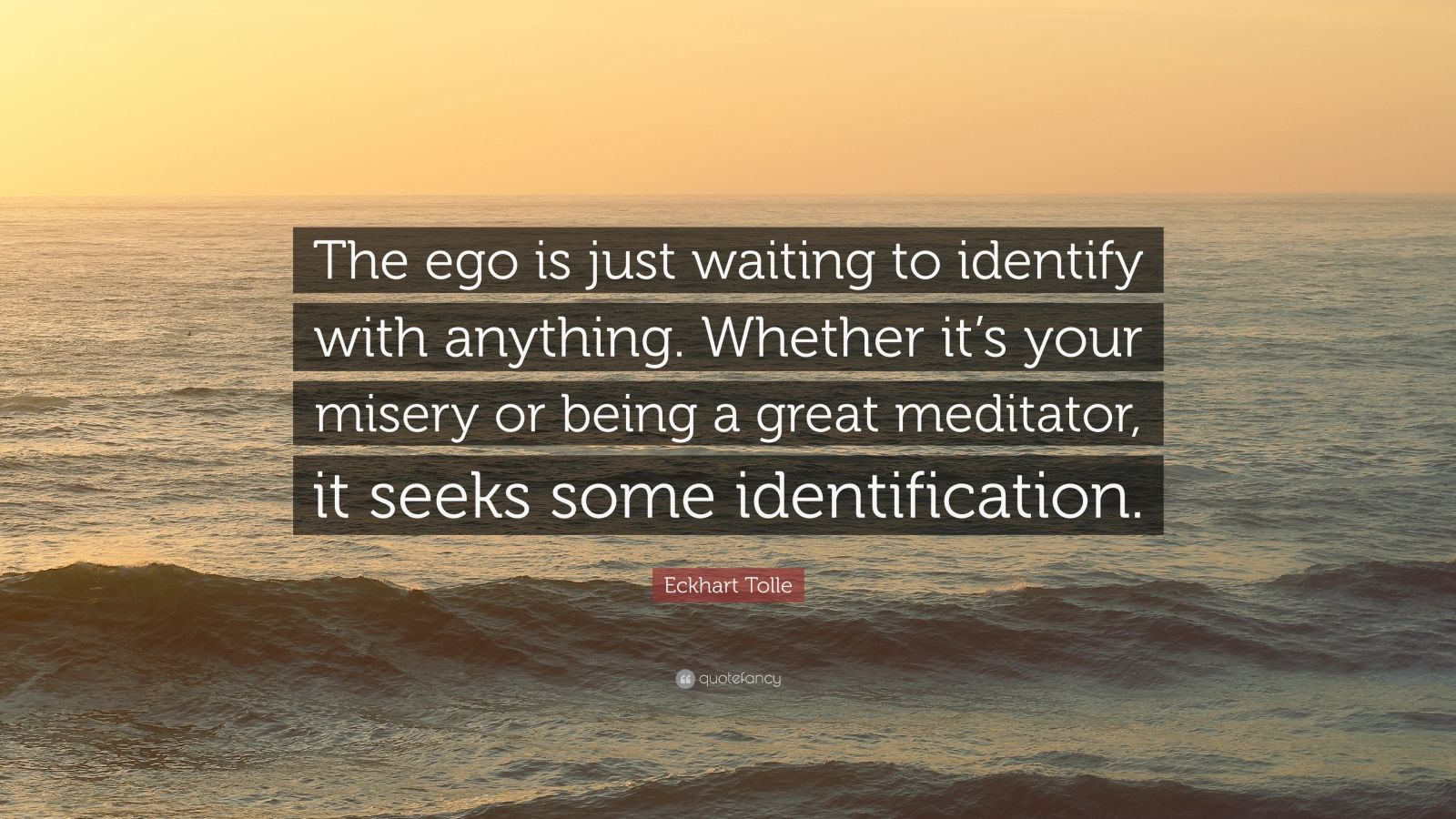 """Eckhart Tolle Quote: """"The ego is just waiting to identify with anything. Whether it's your misery or being a great meditator, it seeks some identification."""""""