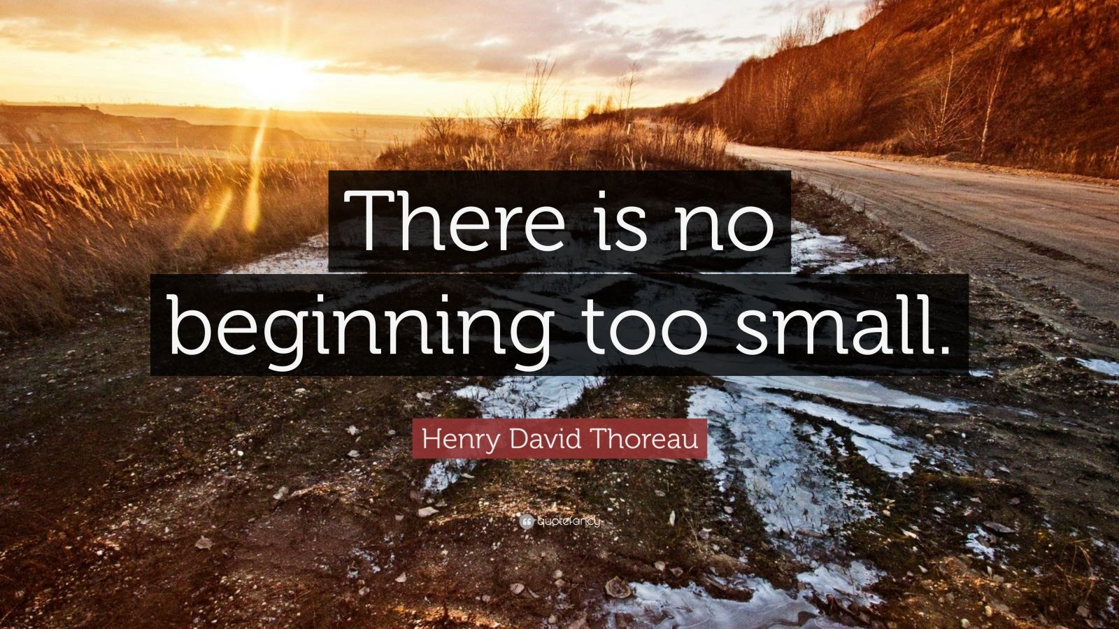 "Henry David Thoreau Quote: ""There is no beginning too small."""