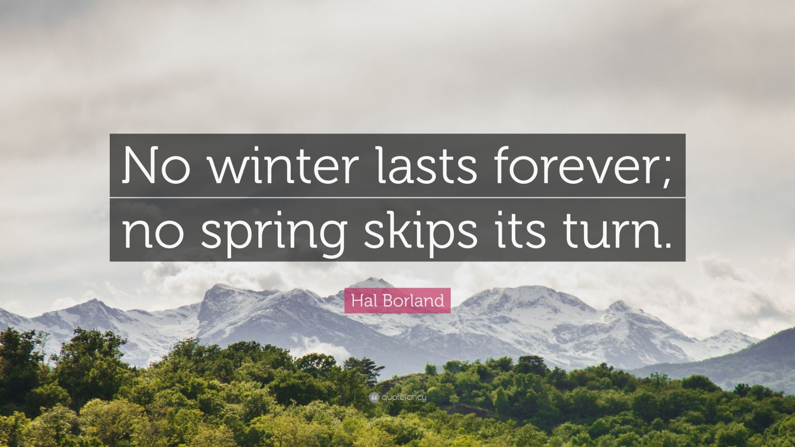 "Hal Borland Quote: ""No winter lasts forever; no spring skips its turn."""