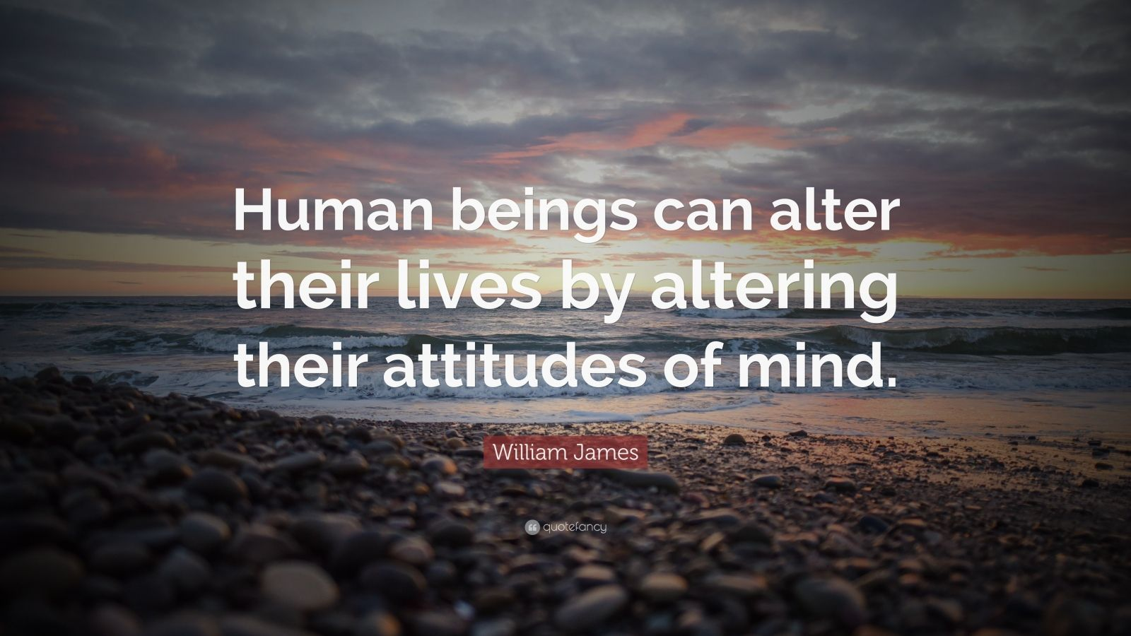 "William James Quote: ""Human beings can alter their lives by altering their attitudes of mind."""