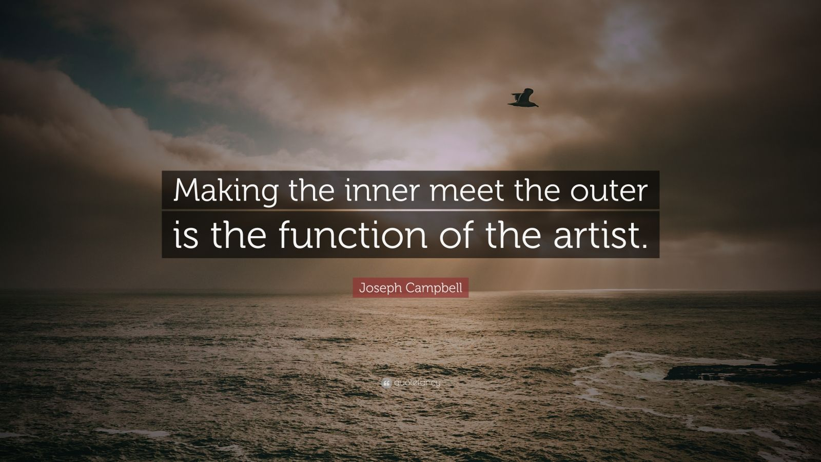 "Joseph Campbell Quote: ""Making the inner meet the outer is the function of the artist."""