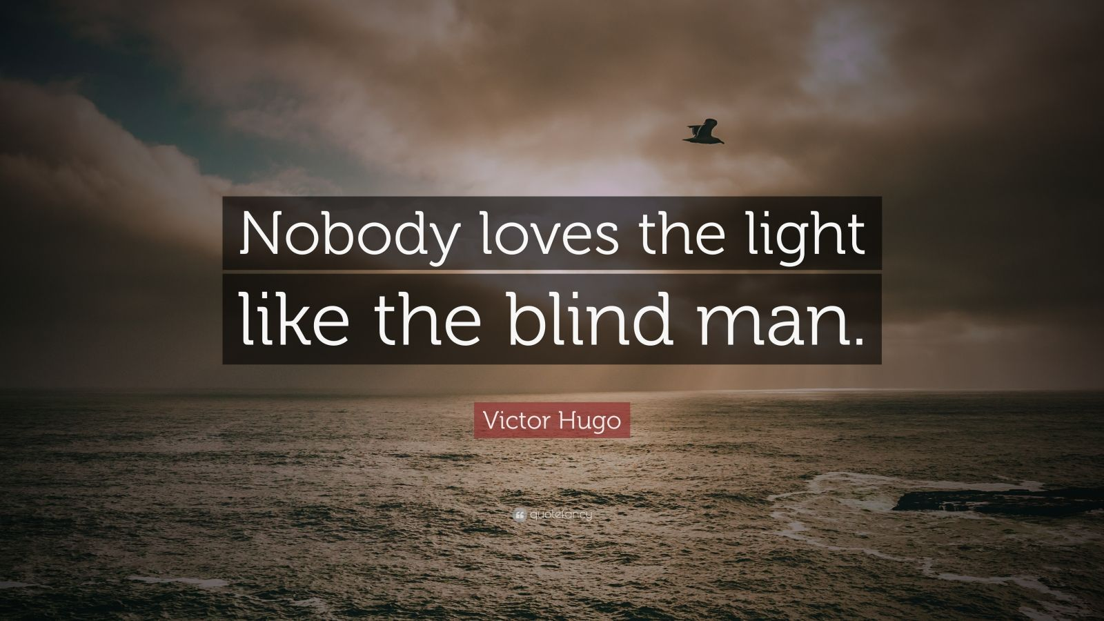 "Victor Hugo Quote: ""Nobody loves the light like the blind man."""