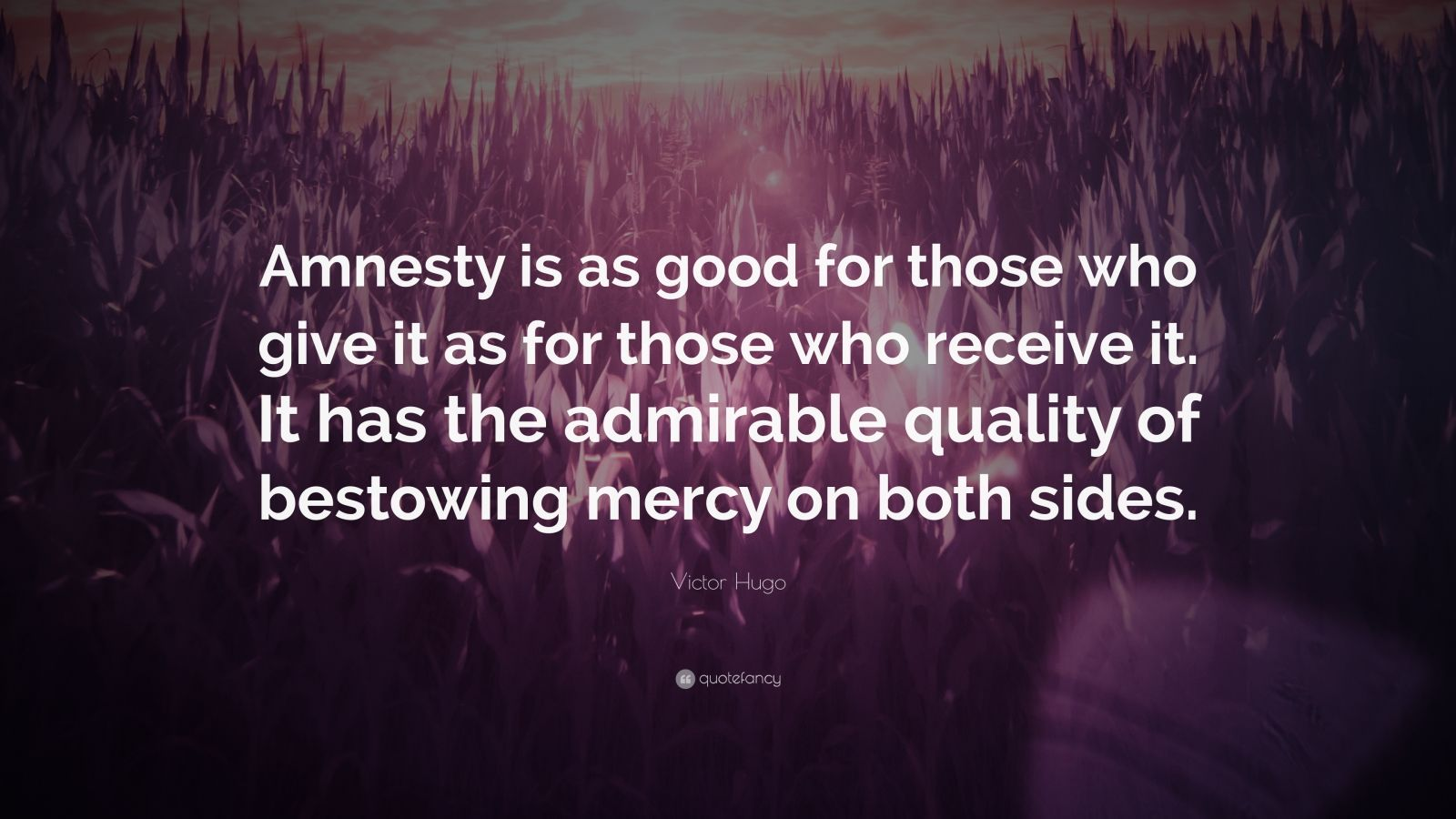 "Victor Hugo Quote: ""Amnesty is as good for those who give it as for those who receive it. It has the admirable quality of bestowing mercy on both sides."""