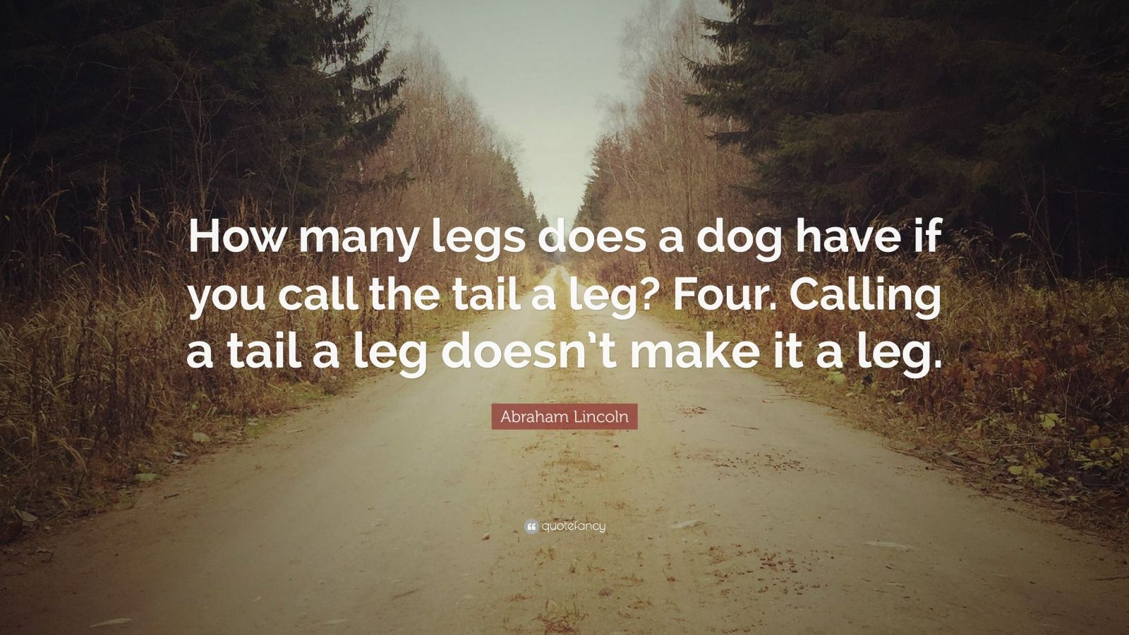 """Abraham Lincoln Quote: """"How many legs does a dog have if you call the tail a leg? Four. Calling a tail a leg doesn't make it a leg."""""""