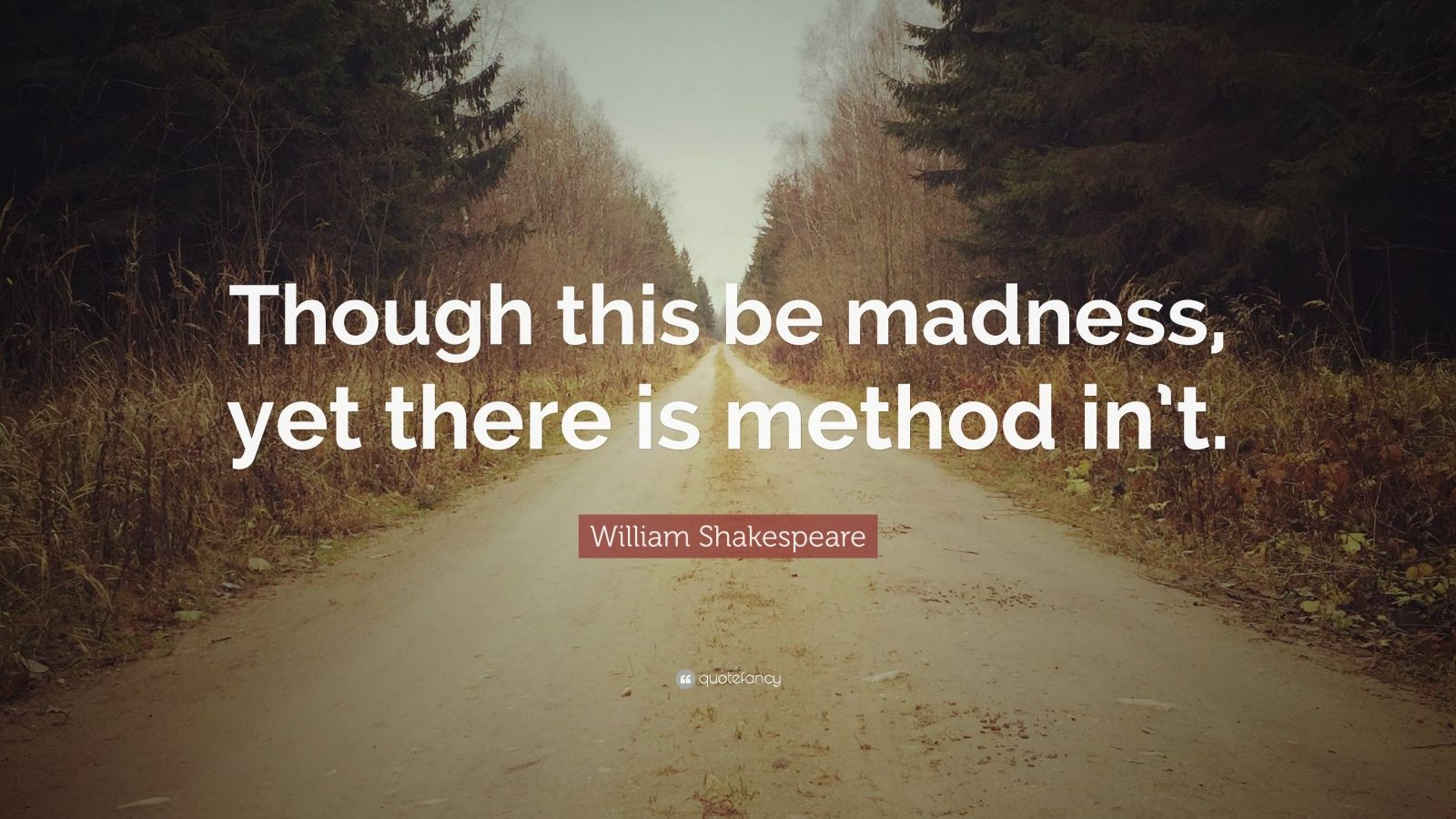 """William Shakespeare Quote: """"Though this be madness, yet there is method in't."""""""