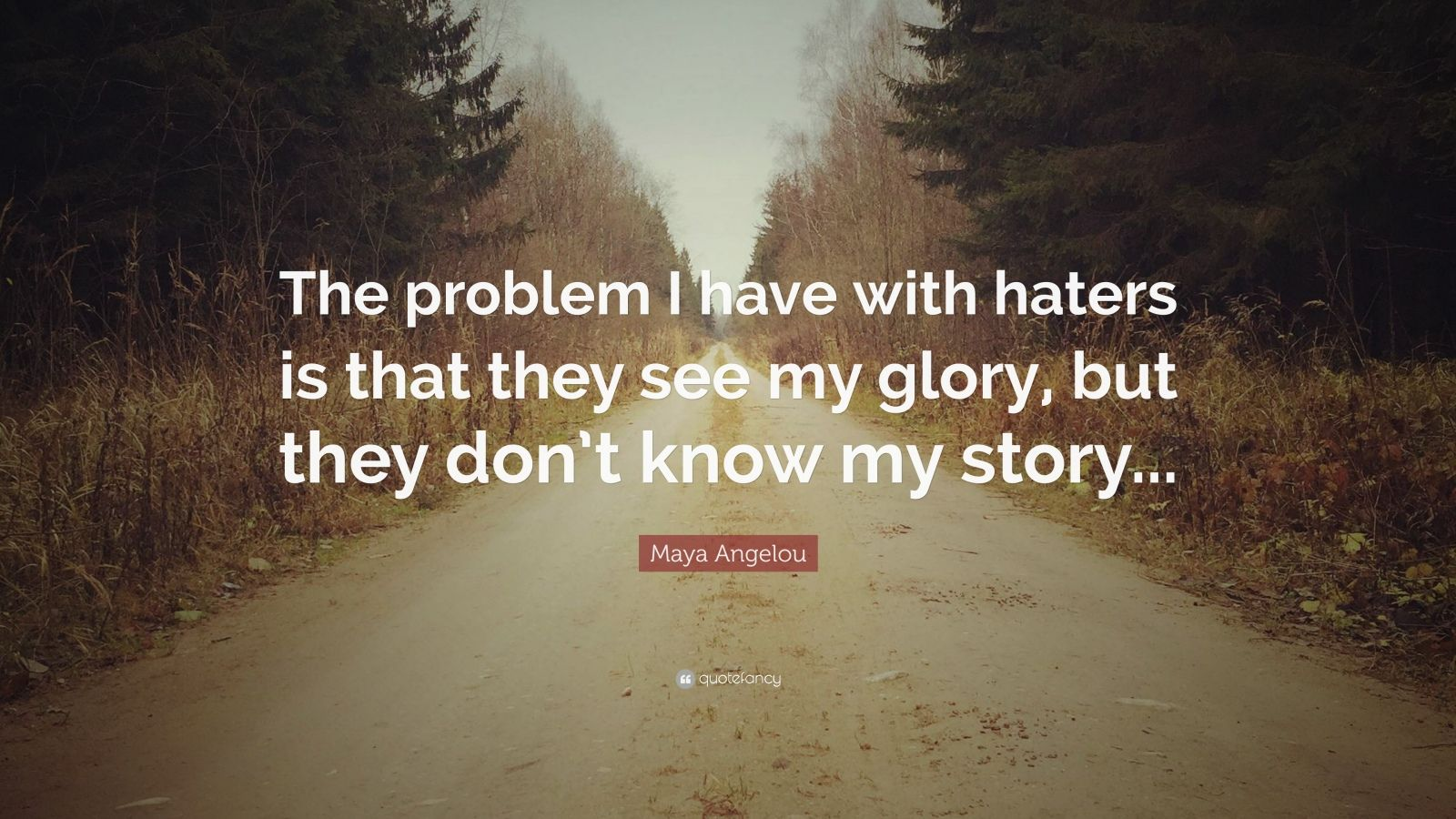 "Maya Angelou Quote: ""The problem I have with haters is that they see my glory, but they don't know my story..."""