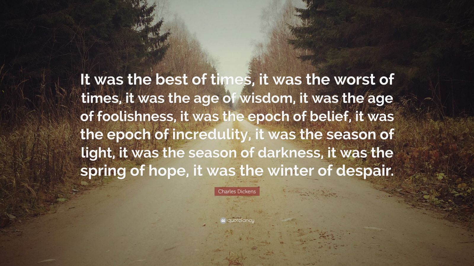 "Charles Dickens Quote: ""It was the best of times, it was the worst of times, it was the age of wisdom, it was the age of foolishness, it was the epoch of belief, it was the epoch of incredulity, it was the season of light, it was the season of darkness, it was the spring of hope, it was the winter of despair."""