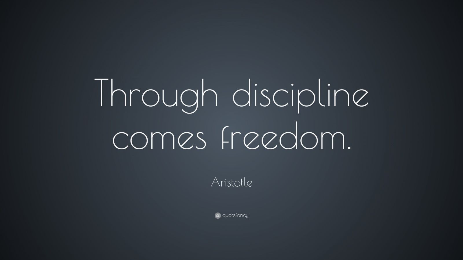 "Aristotle Quote: ""Through discipline comes freedom."""