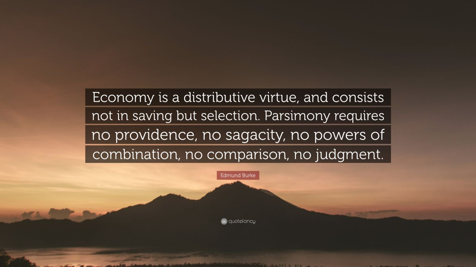 "Edmund Burke Quote: ""Economy is a distributive virtue, and consists not in saving but selection. Parsimony requires no providence, no sagacity, no powers of combination, no comparison, no judgment."""