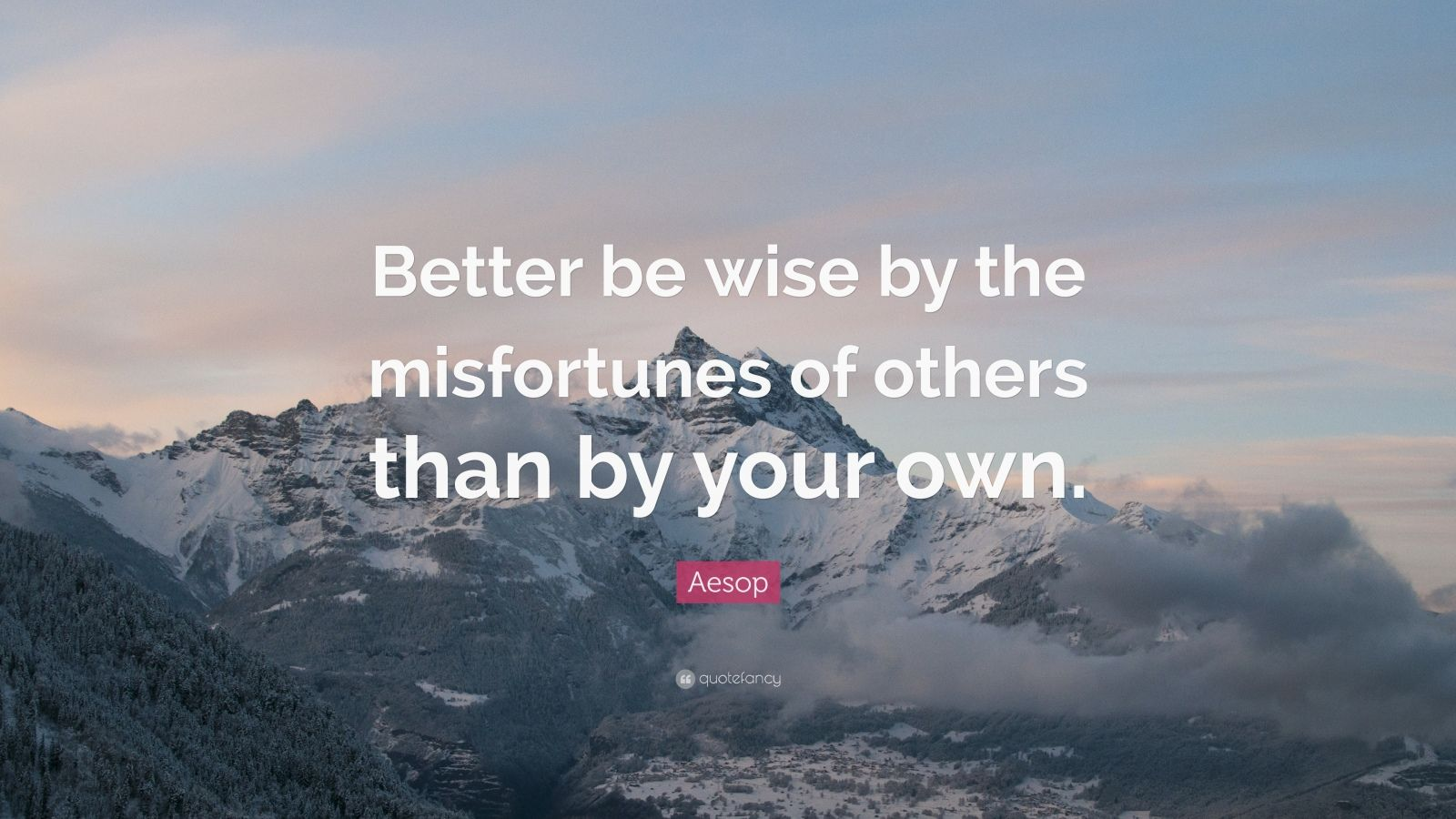 """Aesop Quote: """"Better be wise by the misfortunes of others than by your own."""""""