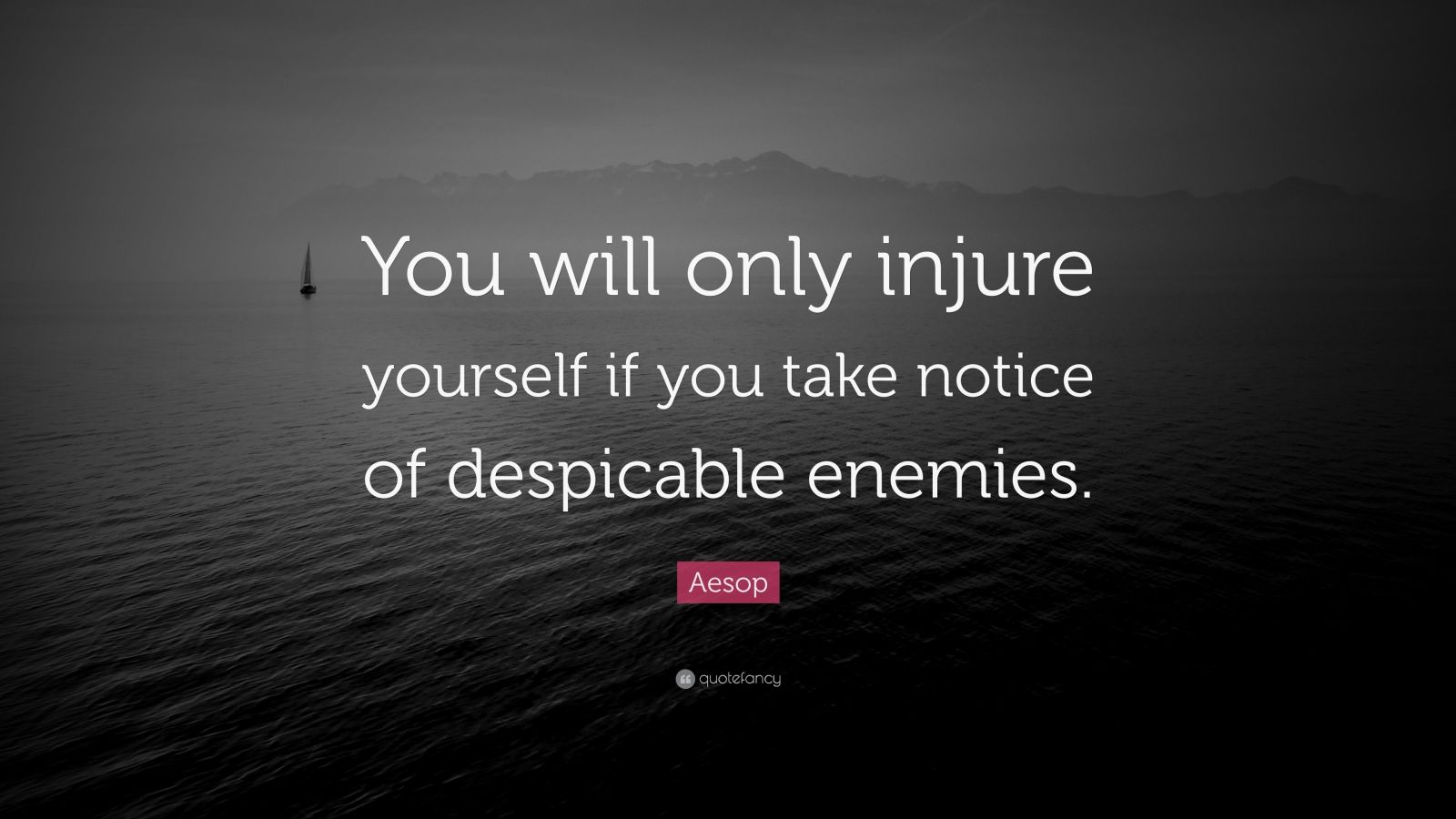 """Aesop Quote: """"You will only injure yourself if you take notice of despicable enemies."""""""