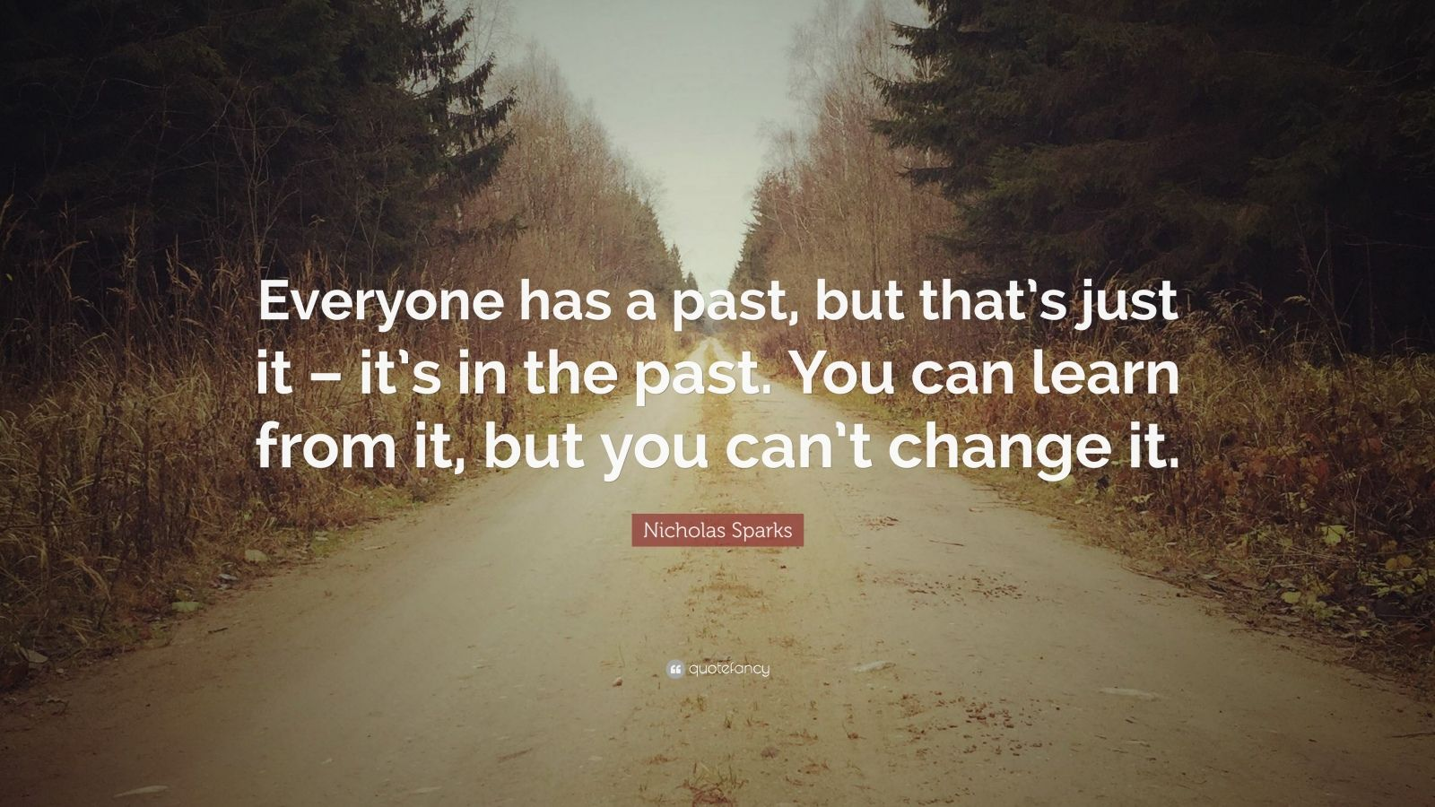 "Nicholas Sparks Quote: ""Everyone has a past, but that's just it – it's in the past. You can learn from it, but you can't change it."""