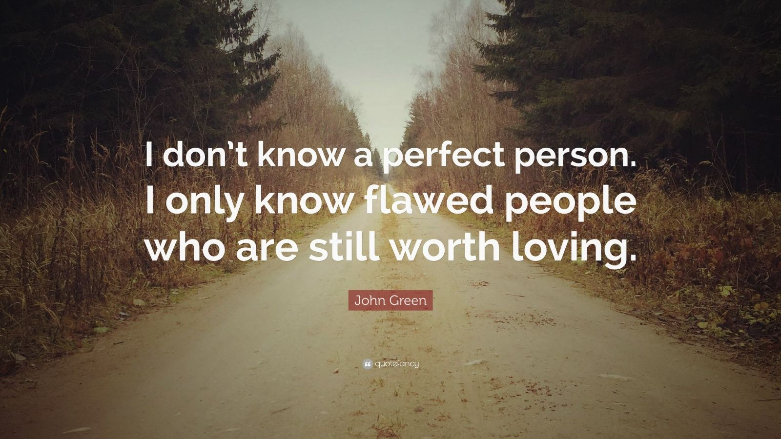 "John Green Quote: ""I don't know a perfect person. I only know flawed people who are still worth loving."""